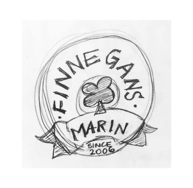 sketch of the logo redesign for a local bar