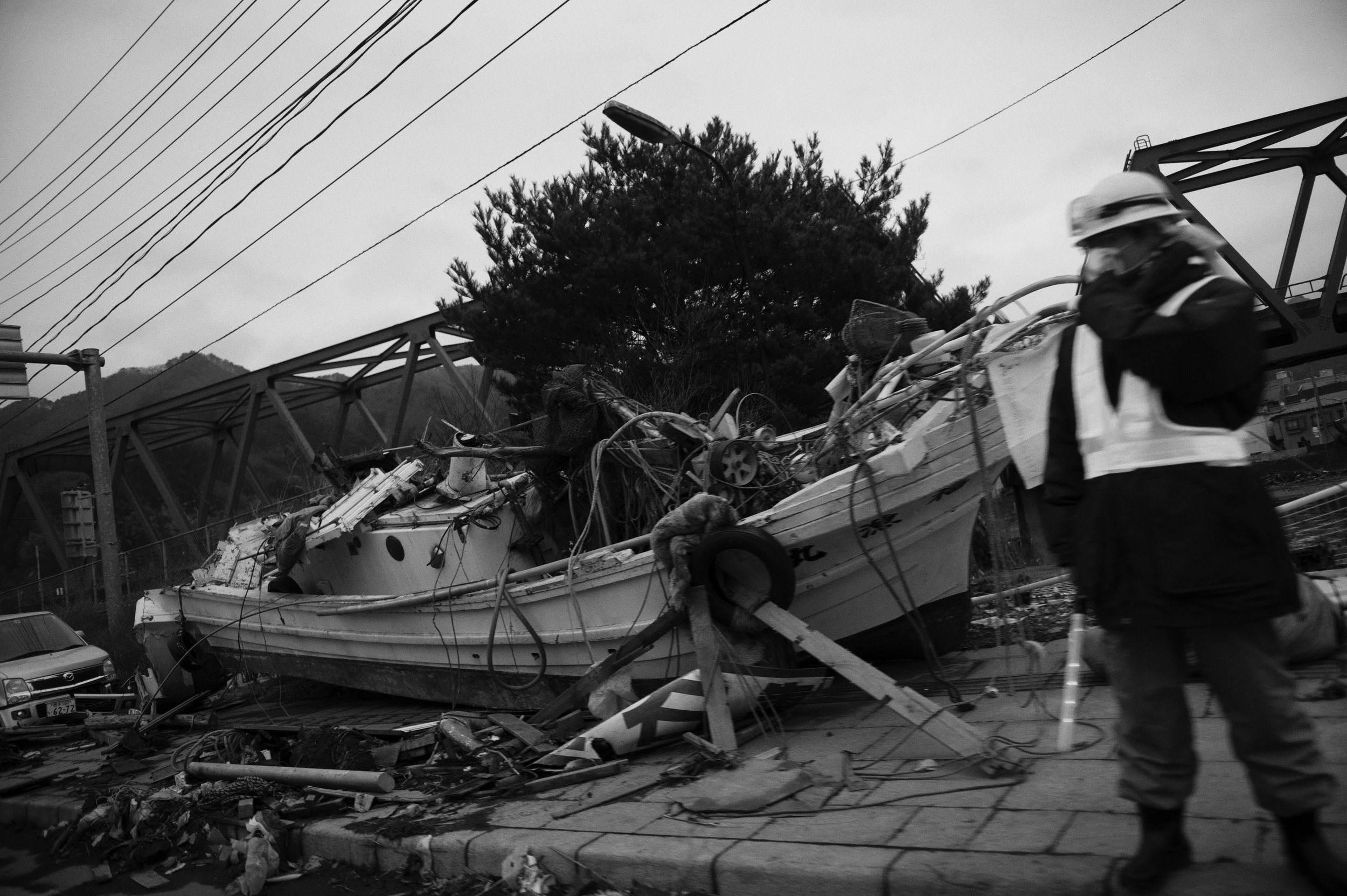 A destroyed boat in  Kamaishi , Iwate, Japan, March 23, 2011. (Photo/ Mark Pearson) Almost all of the 29,000 fishing boats in Miyagi, Iwate, and Fukushima prefectures were rendered unusable after the 2011 Tōhoku earthquake and tsunami struck.12,000 fishing boats in Miyagi prefecture were destroyed or damaged, and at least 440 fishermen were killed or missing.