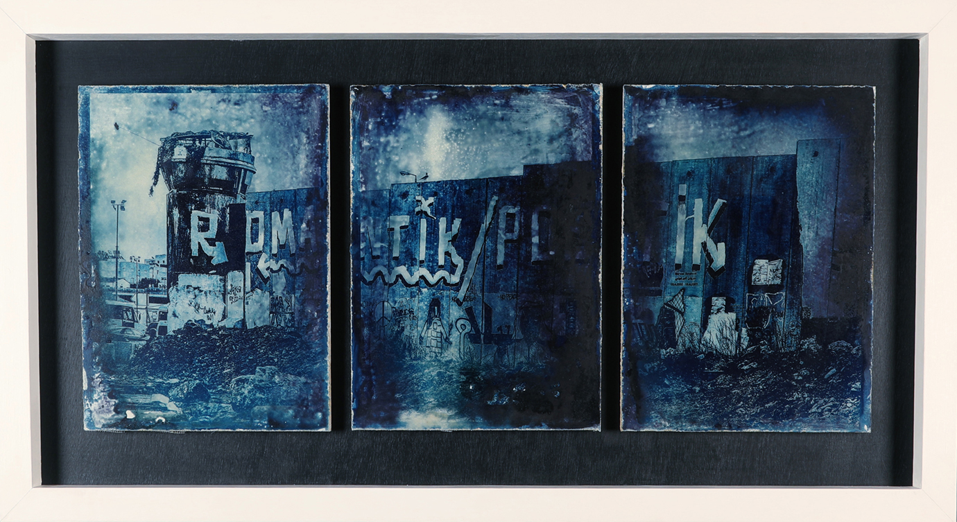 Zone A - A Palestinian view of Jerusalem    Cyanotype Triptych on Concrete, 122cm x 65cm    A chemical experiment and collaboration project in photochemistry and concrete. Cyanotype triptych on concrete panels, with a digital image I shot in Palestine that is chemically embedded onto the surface of the concrete, 2018.
