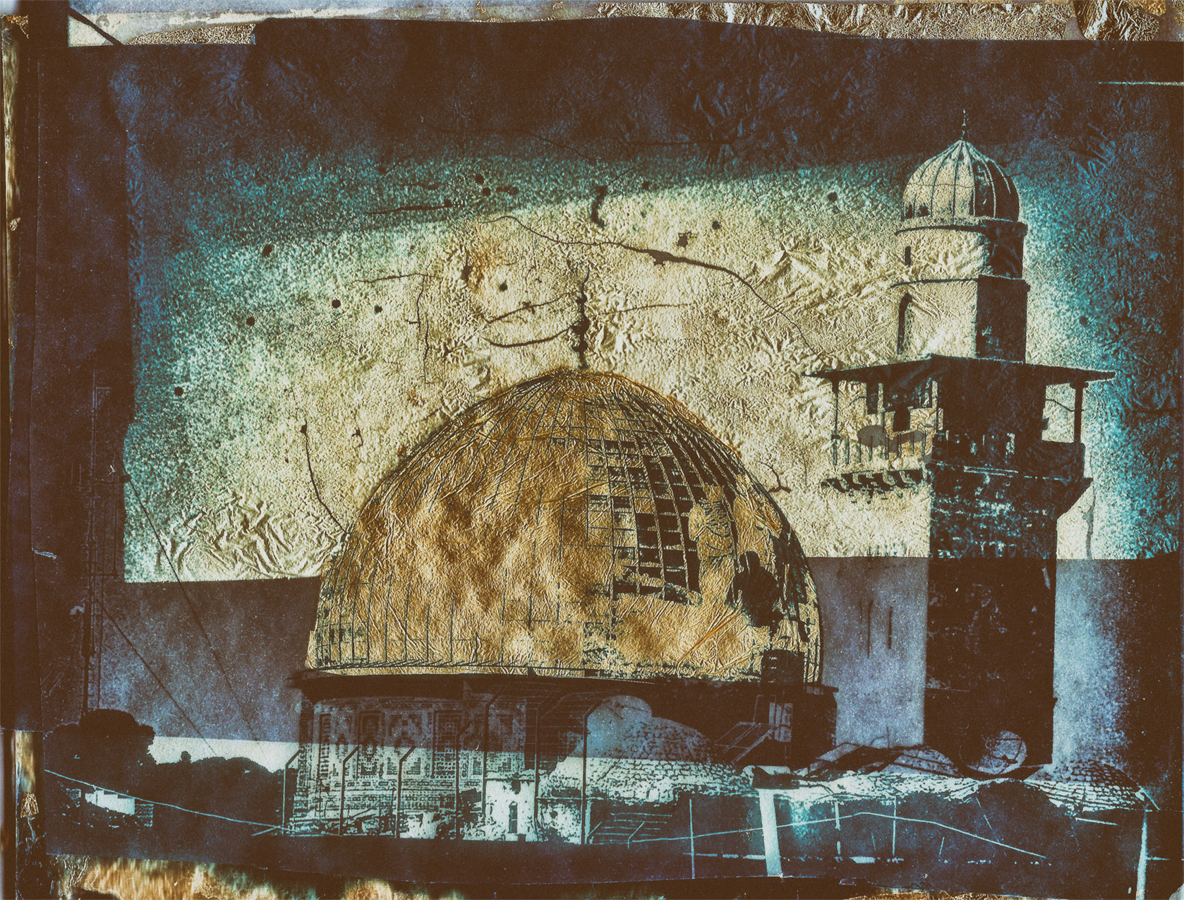 """7"""" x 5"""" Cyanotype on Vellum with Gold Leaf of the Dome of the Rock, Jerusalem. (©Mark Pearson)"""