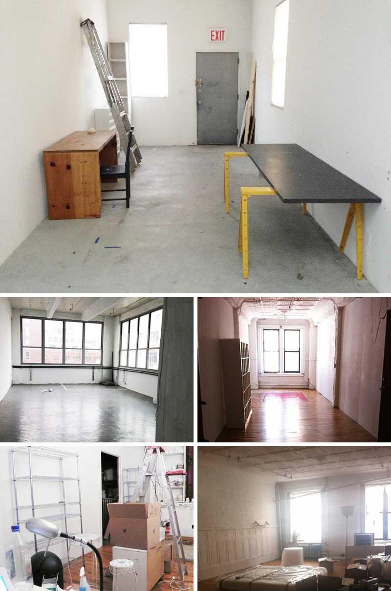 """B D B bare studios since 2008. """"Studio Spaces + Reflections"""" from Oct. 2013 with update,  click here .  Clockwise: No. 5, 2013-present, Greenpoint, BK / No. 4, 2012, S. Williamsburg, BK / No. 3, 2009-2011, SOHO, NY / No. 2, 2008-2009, SOHO, NY / No. 1, 2008, SOHO, NY"""