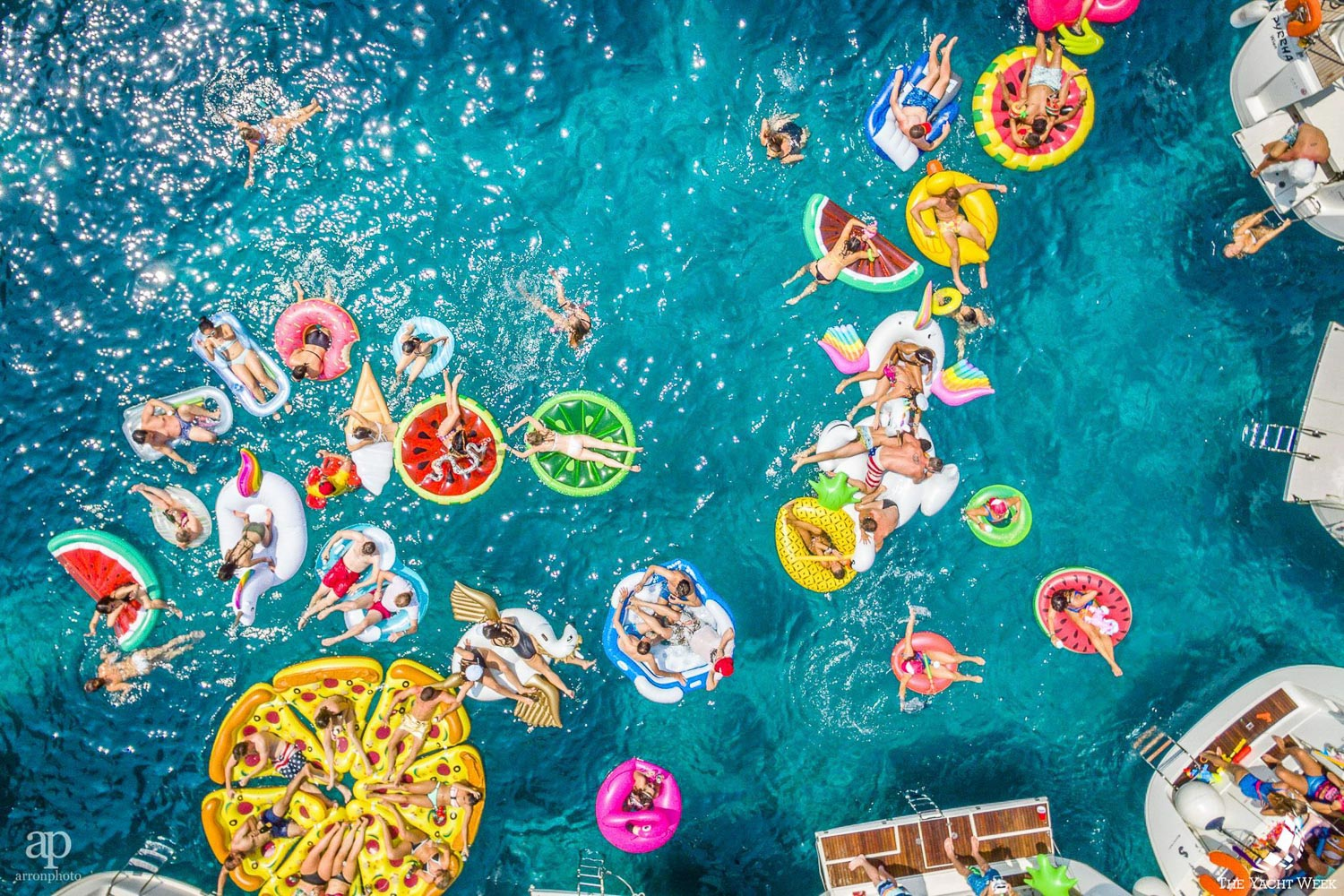 A fruit salad of floaties at The Yacht Week. Photo by @arronphoto