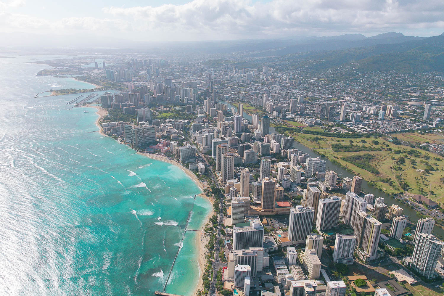 Oahu's Waikiki as seen from a helicopter tour