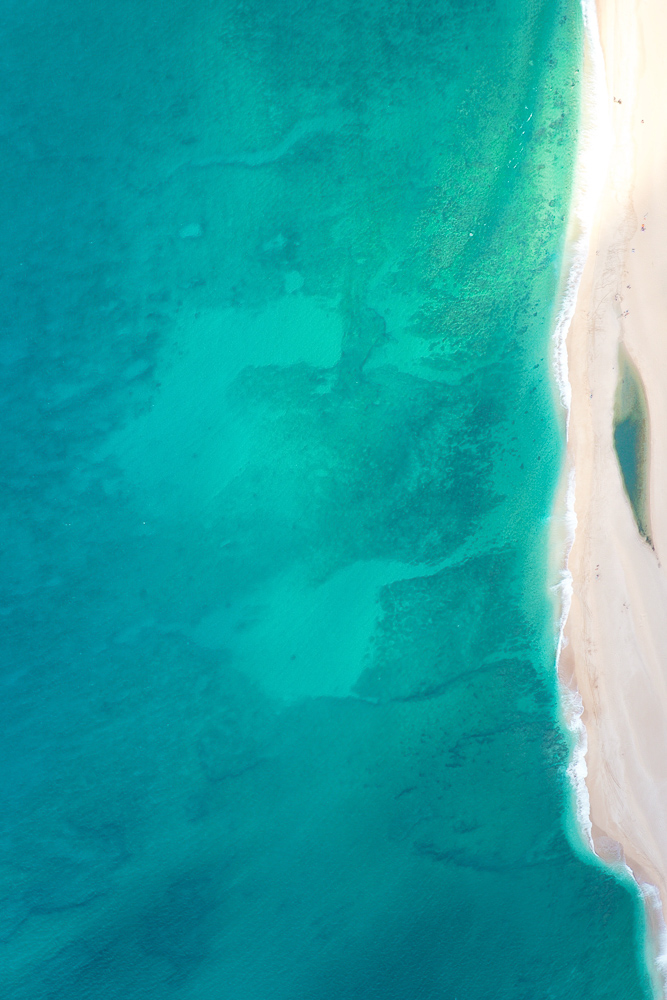 The bluest ocean aerial views from a helicopter