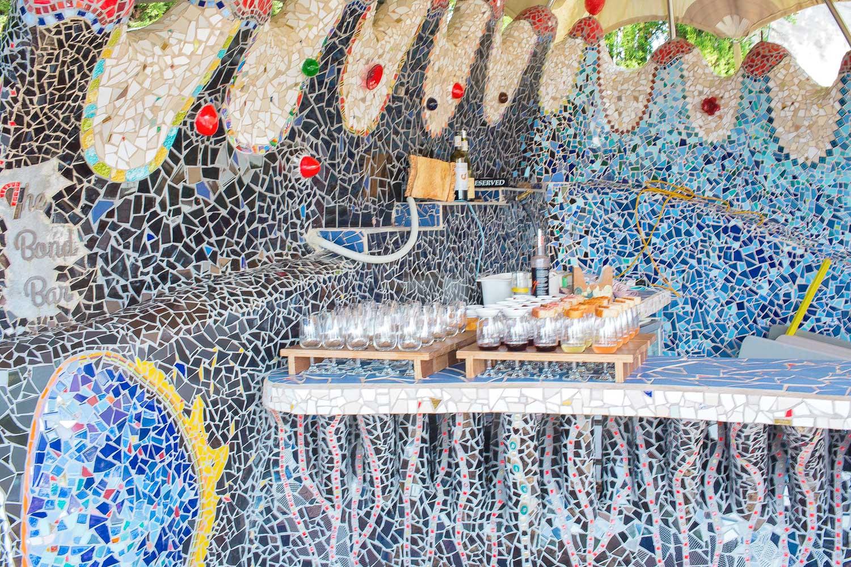 The Spanish style mosaic terrace at Casita Miro on Waiheke Island