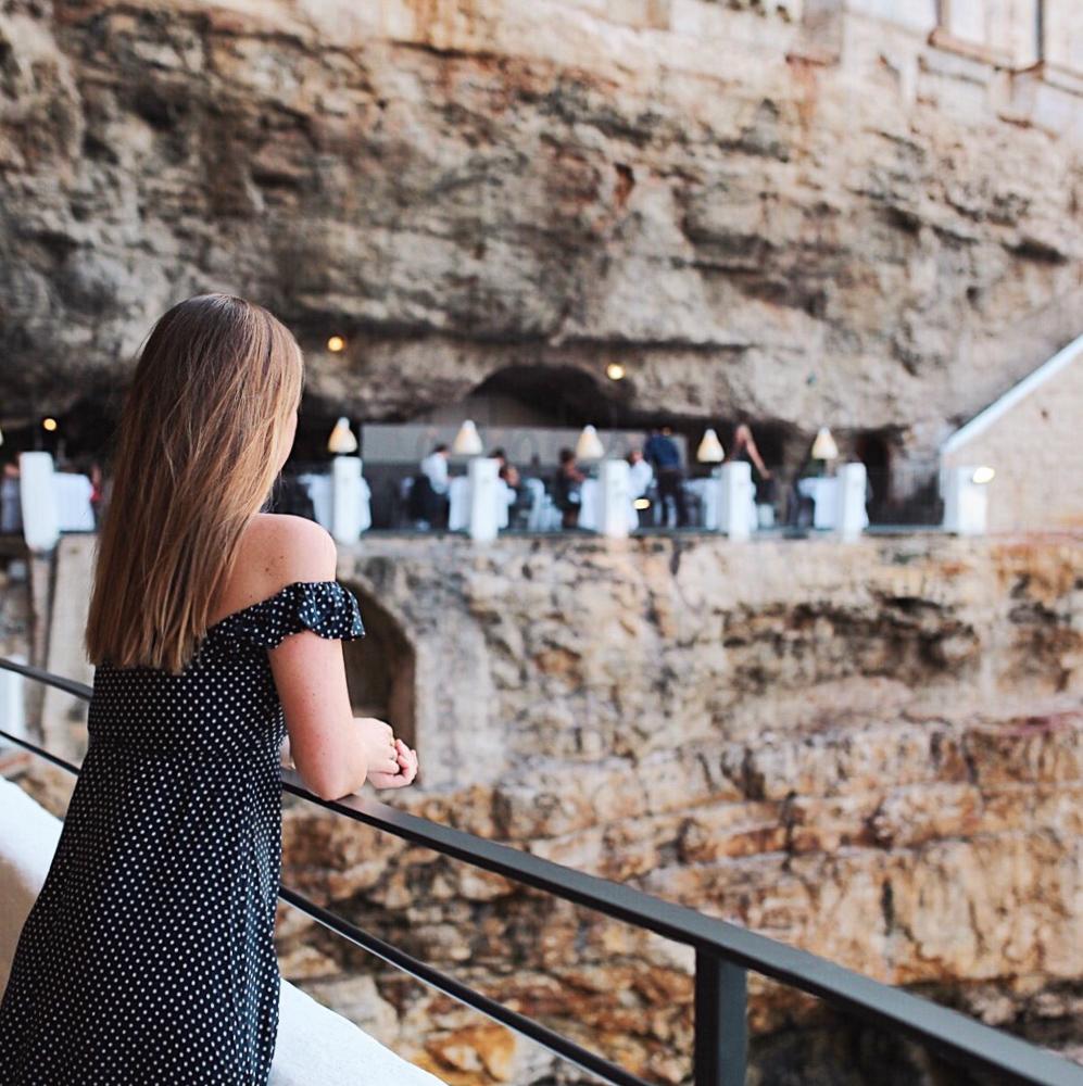 Taking in the view at Ristorante Hotel Grotta Palazzese in Polignano a Mare, Puglia, Italy