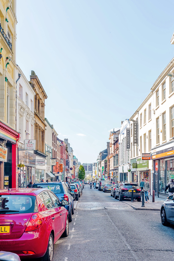 Bold Street in Liverpool, full of shops, cafes, restaurants, and more!