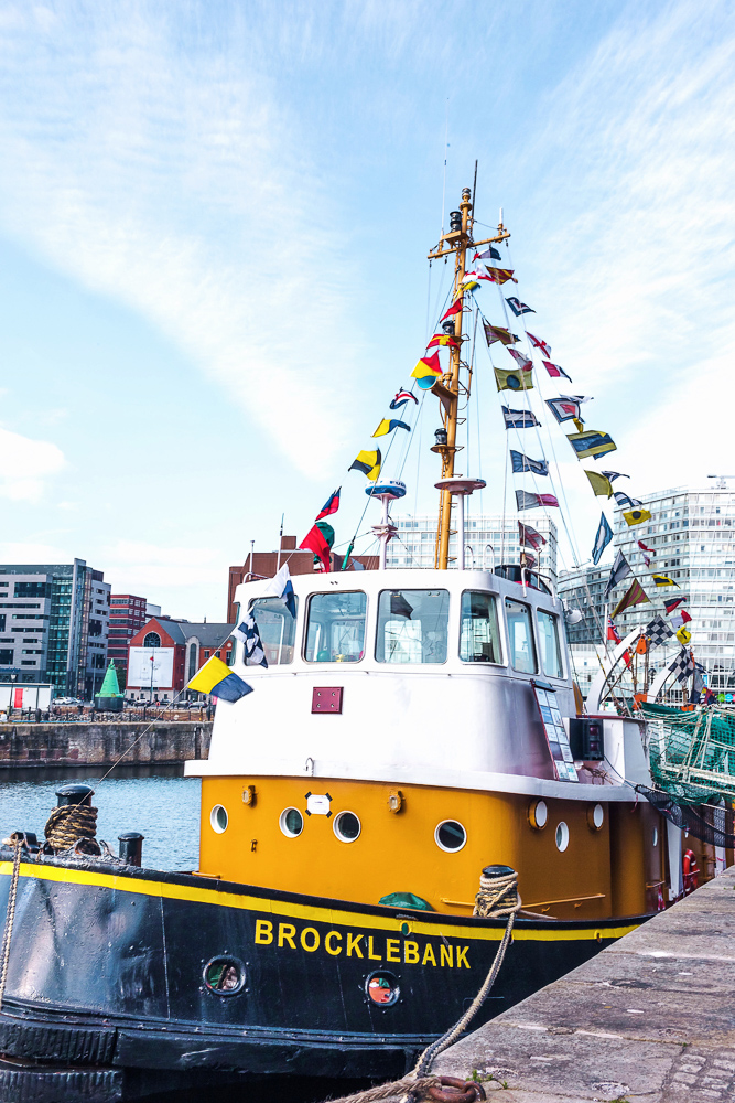 A colorful boat at Albert Dock in Liverpool