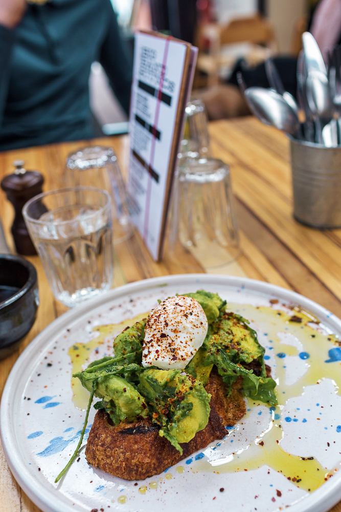The most amazing avocado toast from Tender Cow at Altrincham Market near Manchester, England. A must visit!