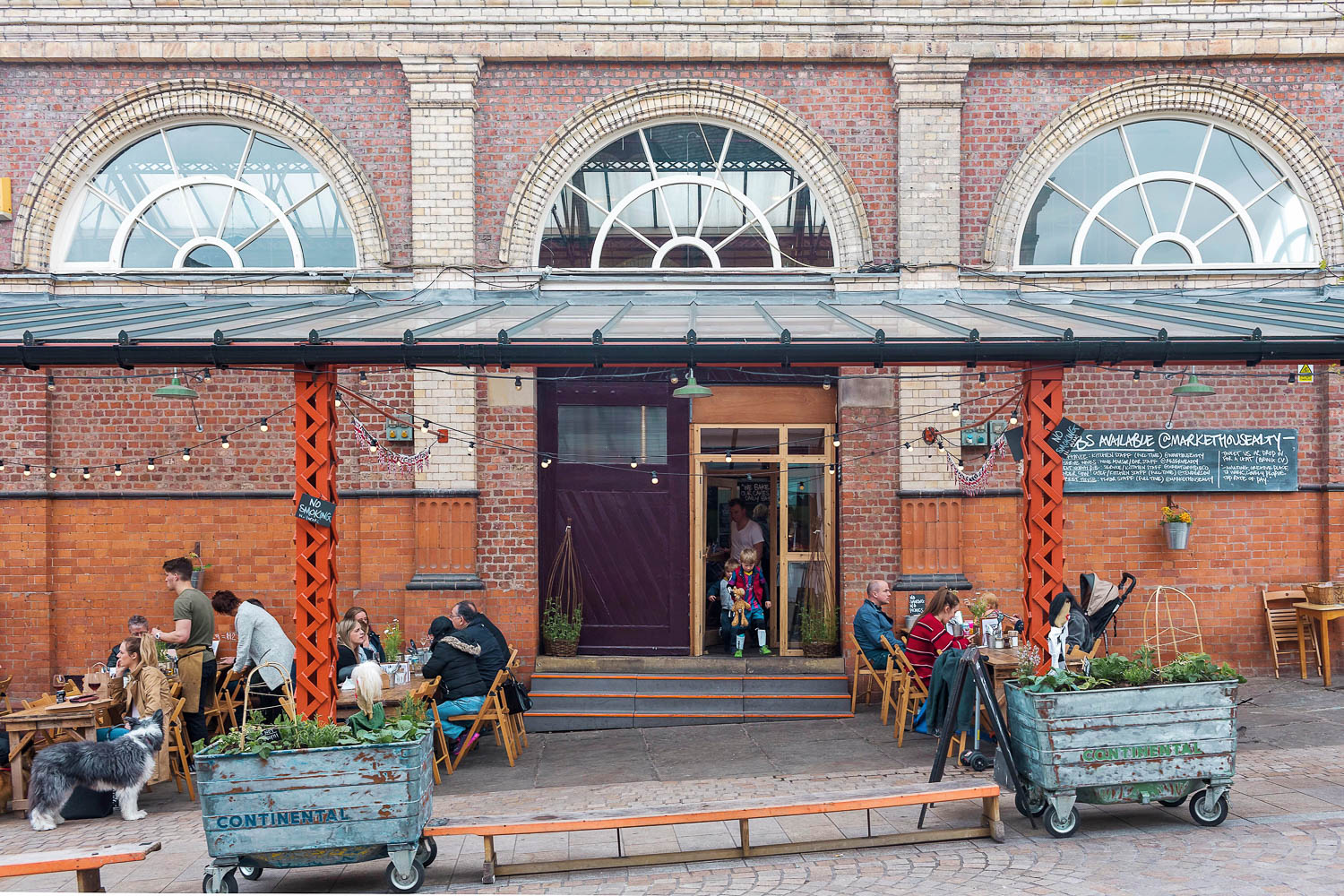 An outdoor seating area at Altrincham Market