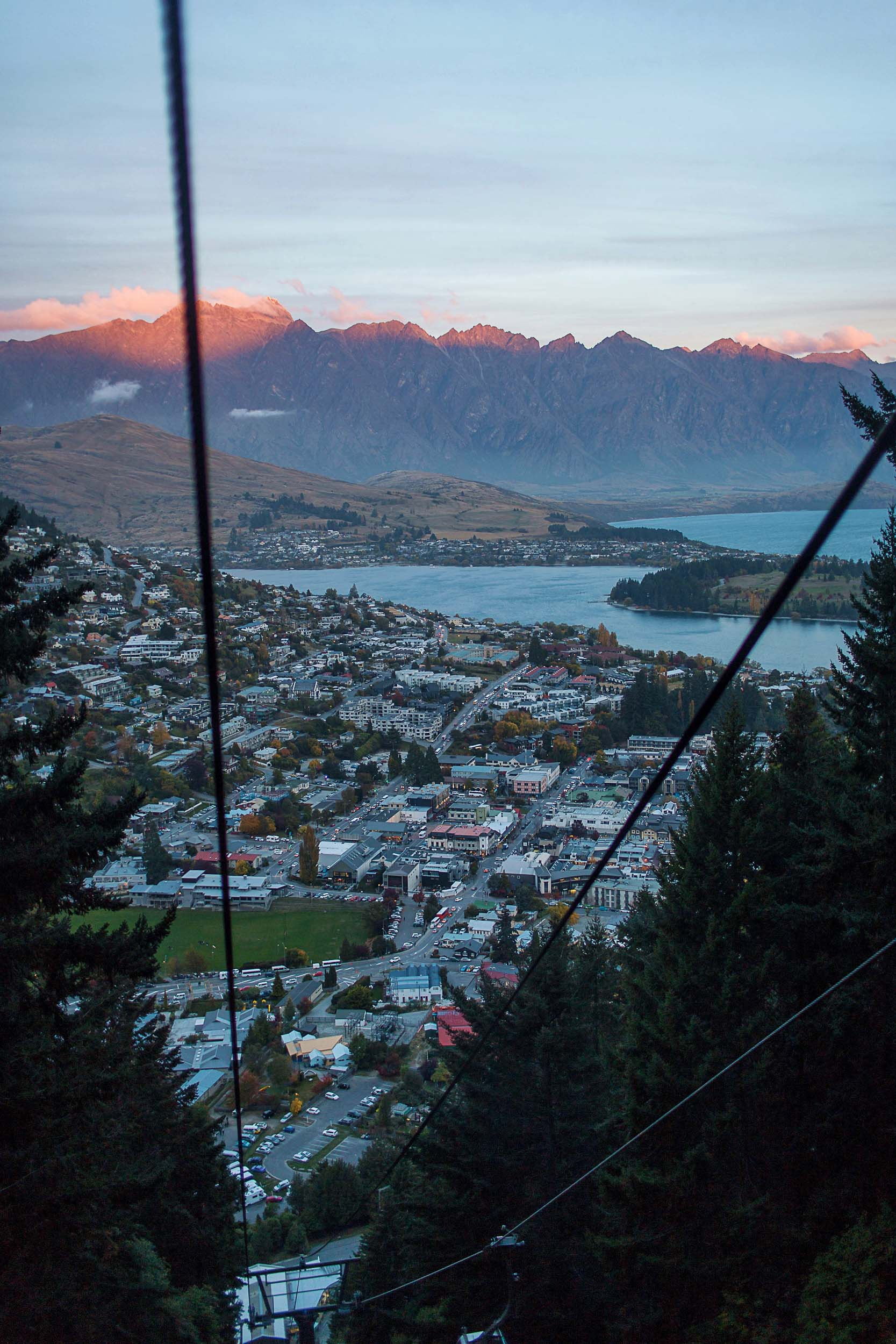 Sunset views of Queenstown coming down from the Skyline gondola