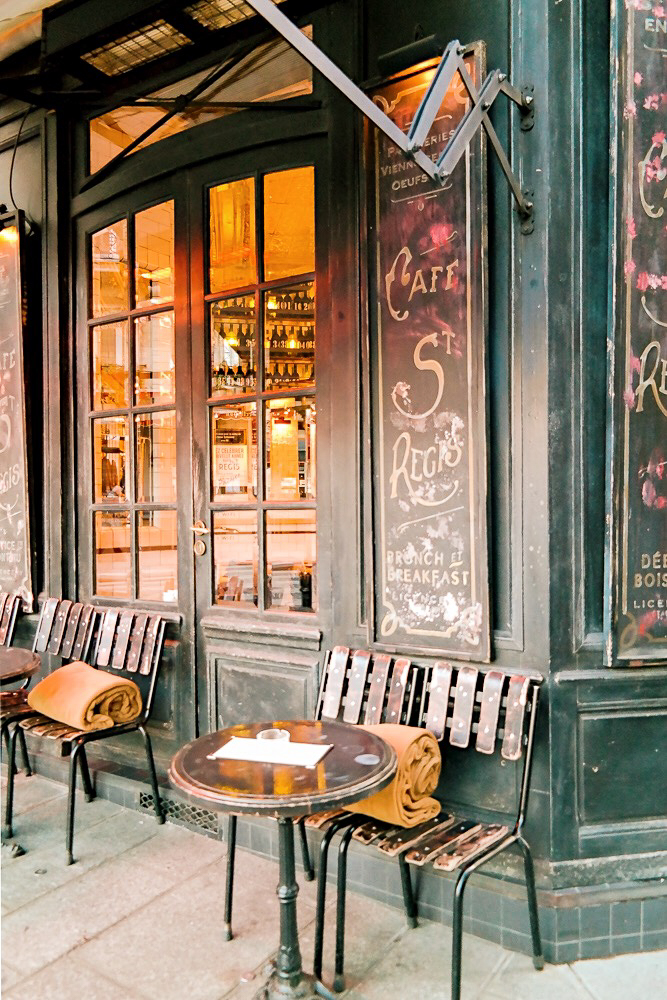 Cozy Cafe St. Regis in Paris in winter