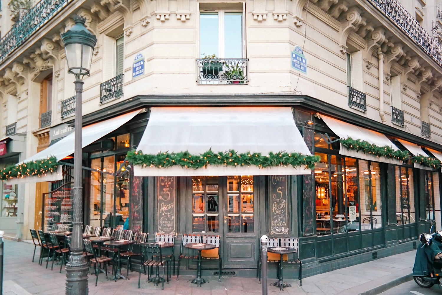 Cafe St. Regis in Paris at Christmas time