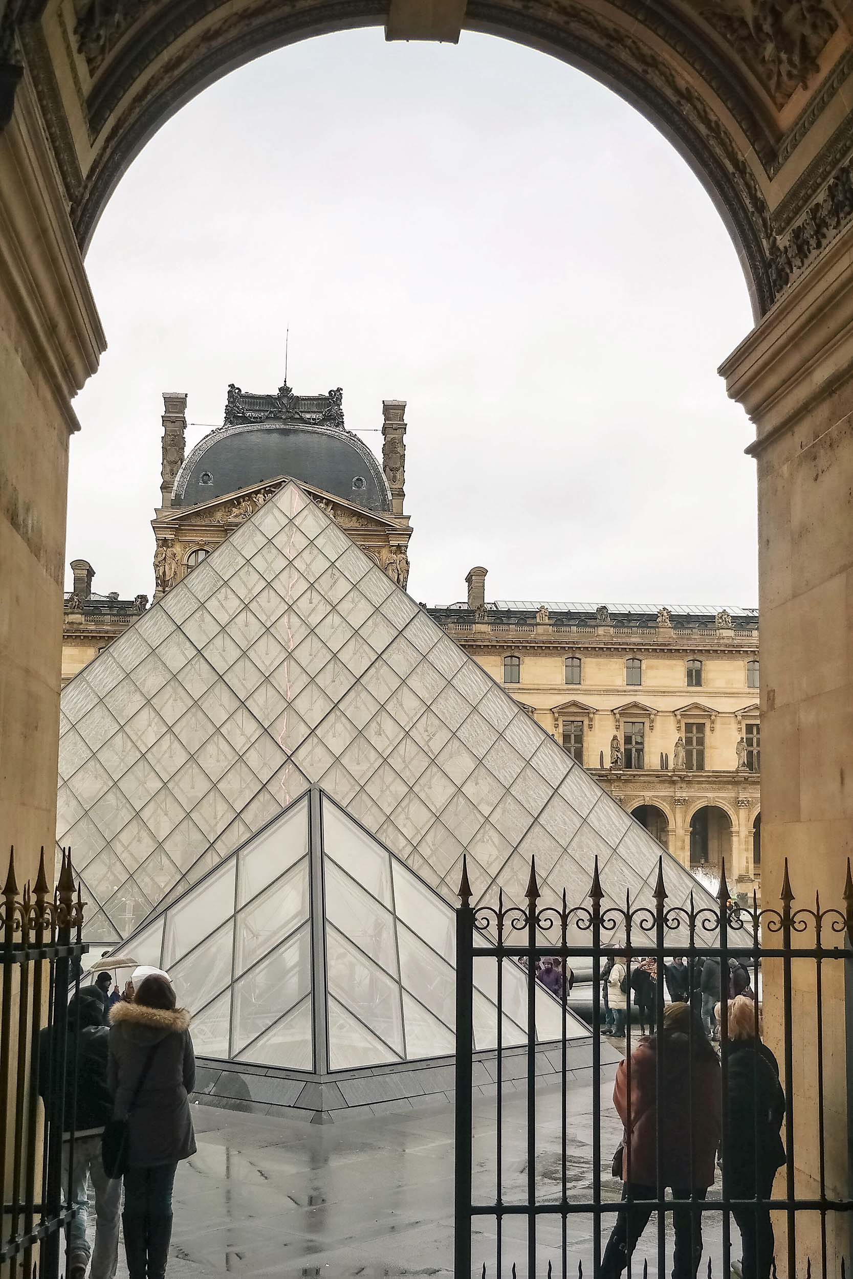 Rainy day Louvre views in Paris