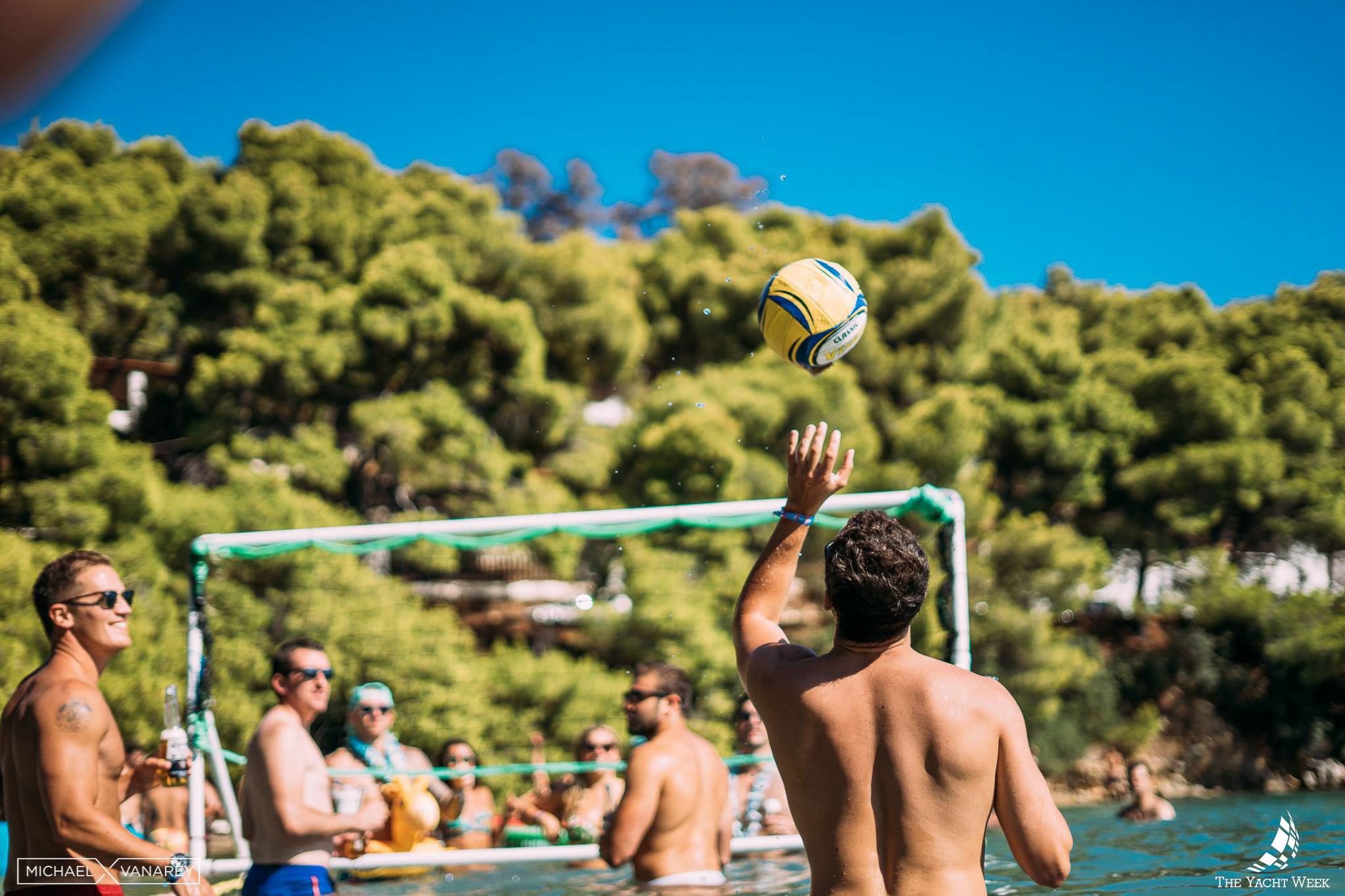 Yacht Week Greece, day 1: Poros for some volleyball in the sea!