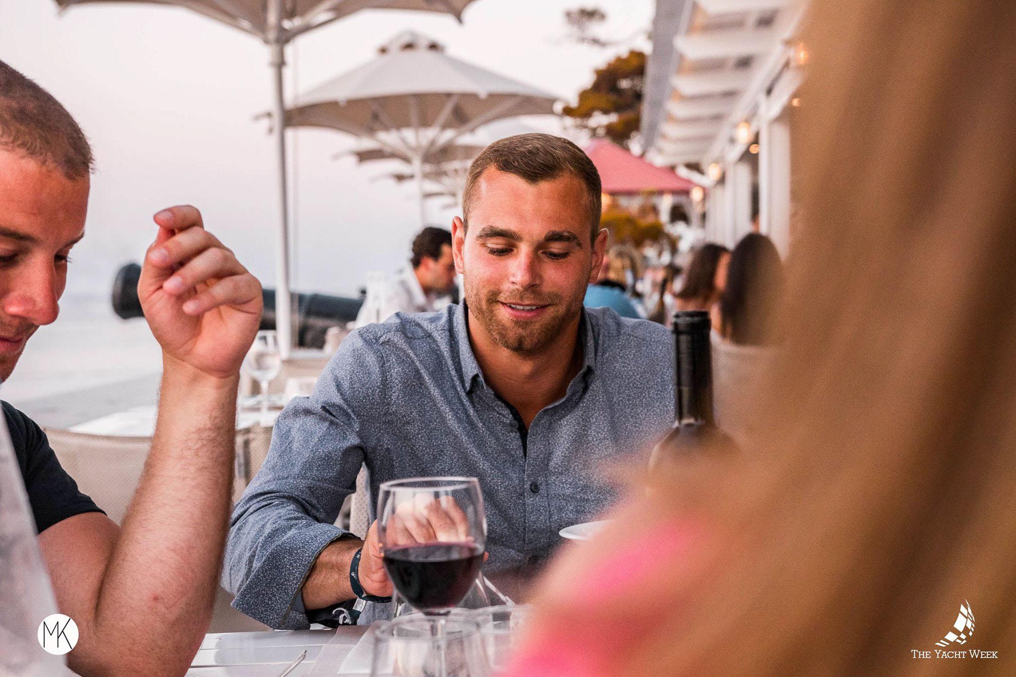 Yacht Week family dinner at Sunset Restaurant in Hydra, Greece