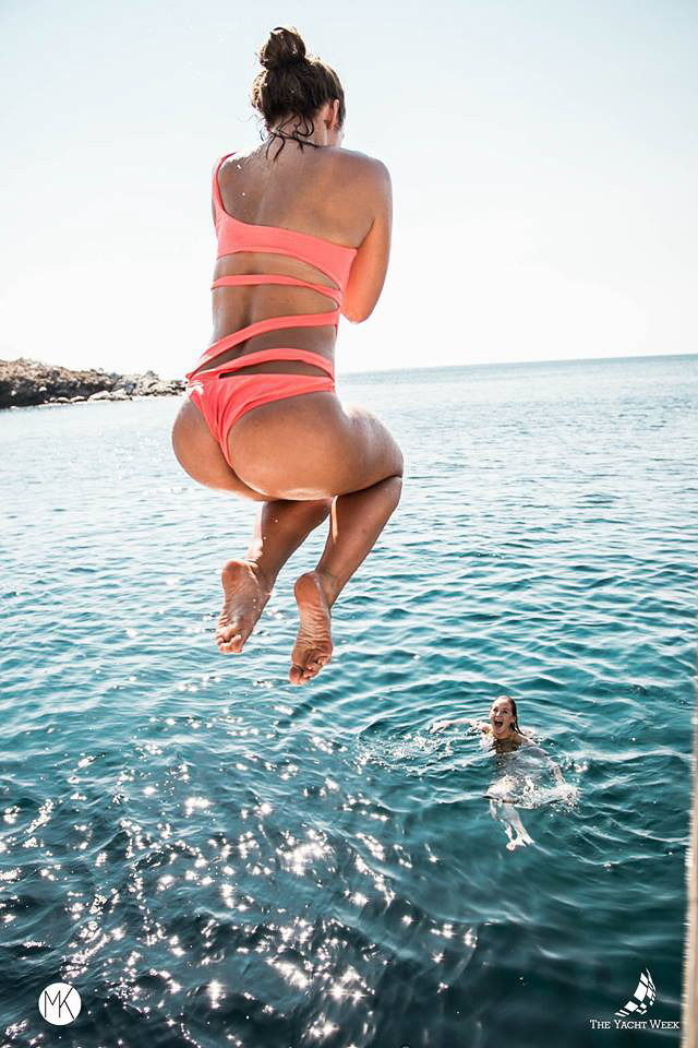 Jumping in the sea at The Yacht Week Greece