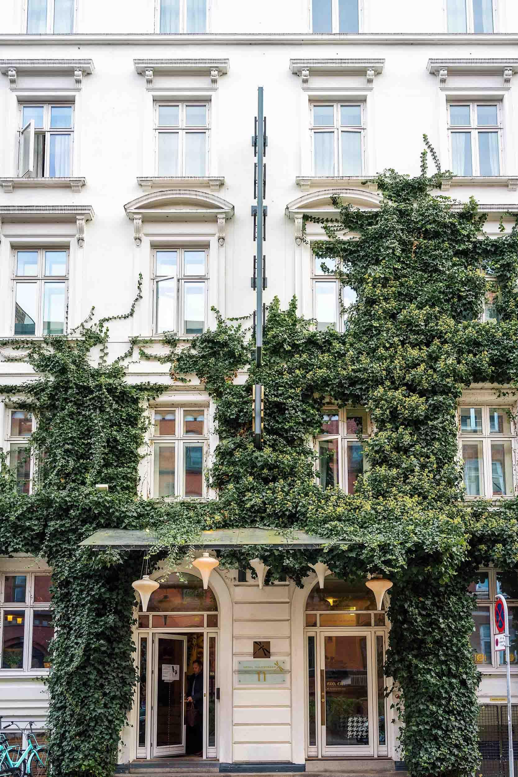 Where to stay in Copenhagen: The ivy-covered exterior at Axel Guldsmeden in Copenhagen