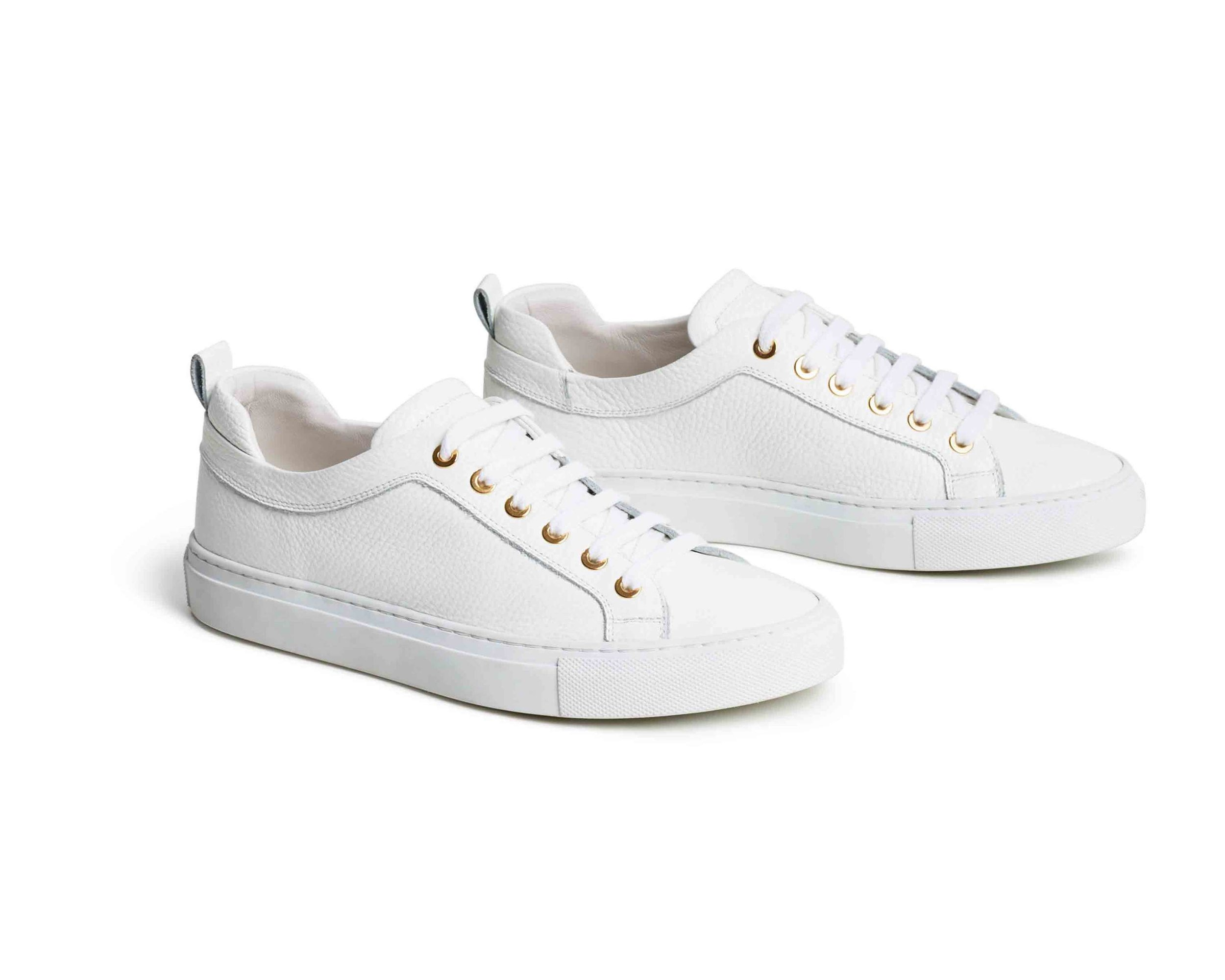 Italian Leather Sneakers - White leather sneakers from M. Gemi, handmade (yes, really) in Italy. Featuring soft gold eyelets and rich, artisan-treated leather, they go with all outfits and can be worn all day everyday (seriously). The perfect sneaker for traveling!
