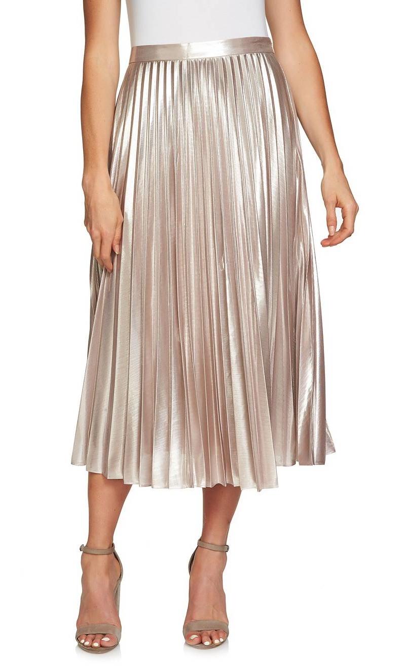 Metallic Pleated Midi Skirt - The perfect holiday skirt!