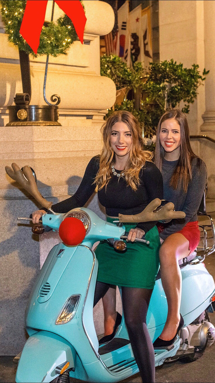 The cutest way to arrive at holiday gingerbread tea time at The Fairmont - via a blue Vespa dressed as Rudolph!