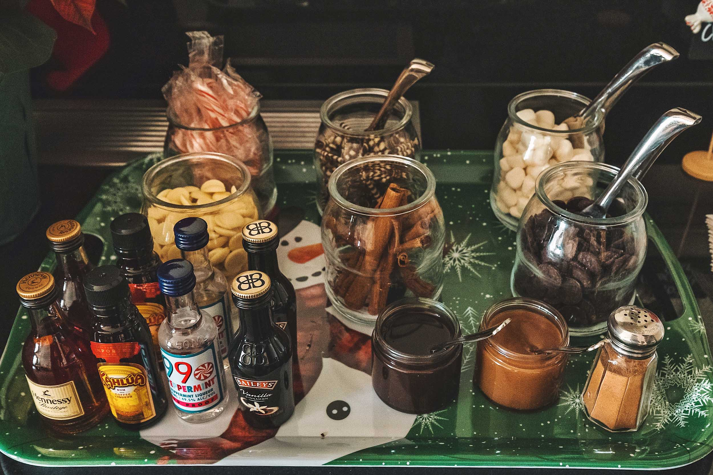 Our DIY hot chocolate bar (adult beverages included) inside the Santa Suite at The Fairmont San Francisco