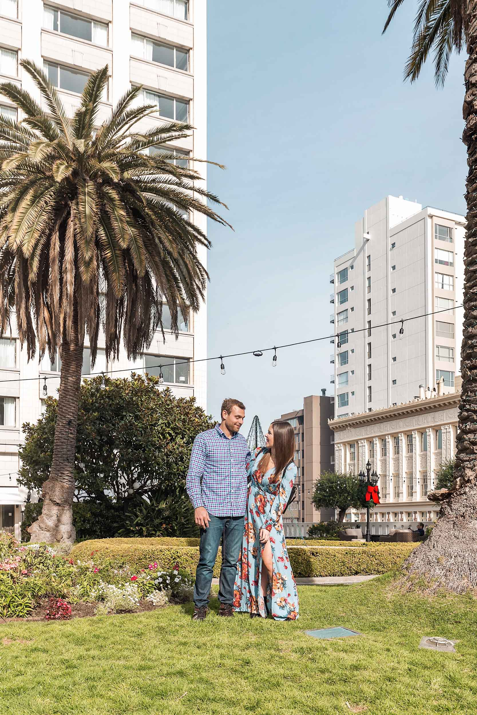 The rooftop garden on top of The Fairmont San Francisco offers beautiful skyline city views and is a great place to relax in the sunshine below the palm trees
