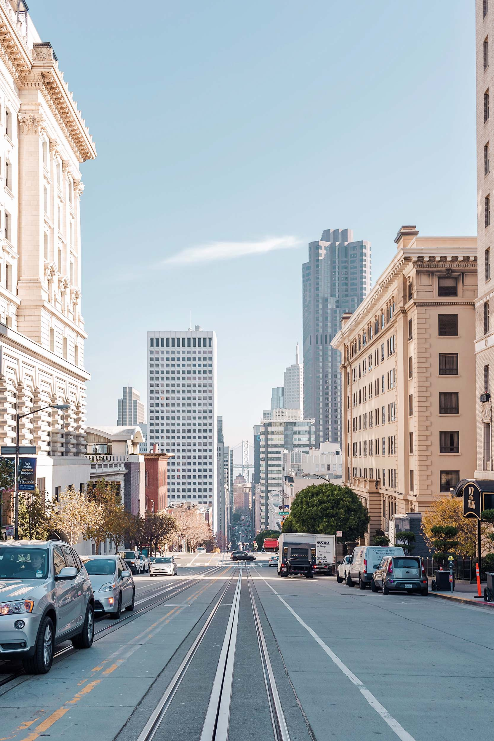 Fairmont San Francisco is centrally located on top of Nob Hill, offering beautiful panoramic city views.  It's the only spot in SF where all of the cable car lines meet!