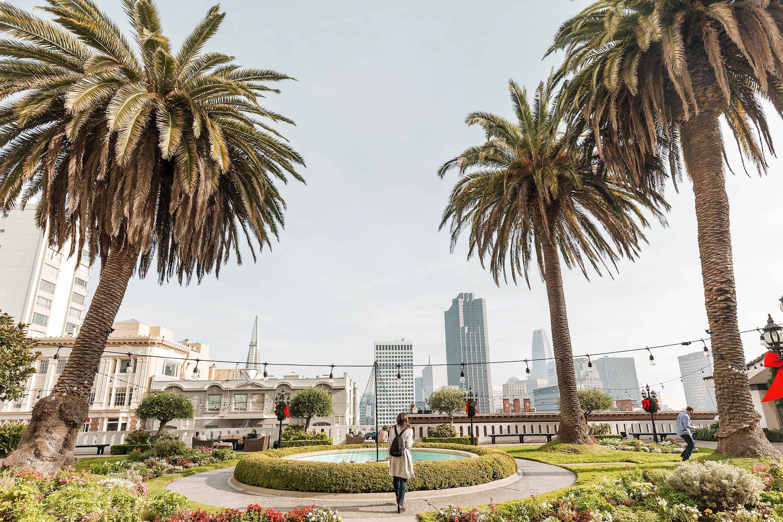 The rooftop garden of the Fairmont San Francisco offers beautiful city views