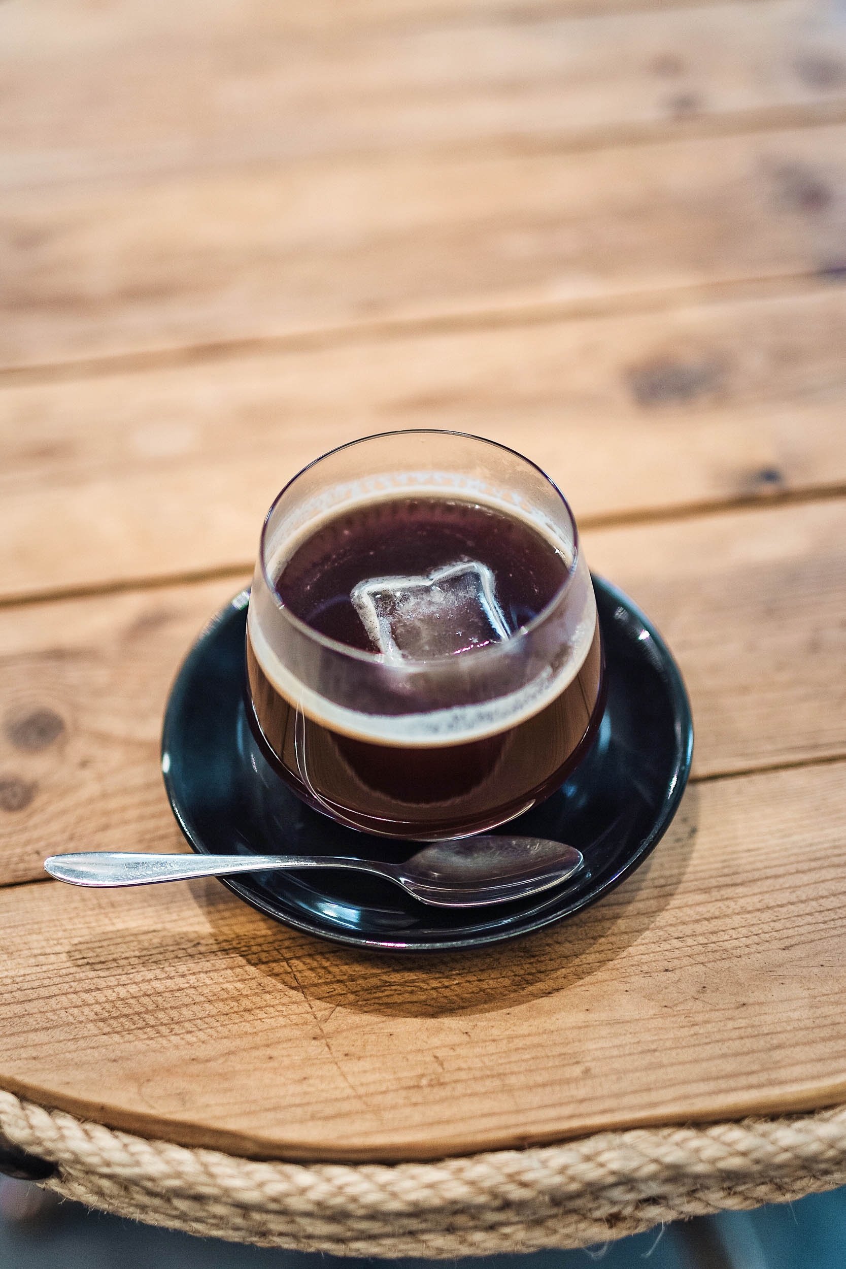 Iced coffee at Fabrica Coffee Roasters in Lisbon, Portugal