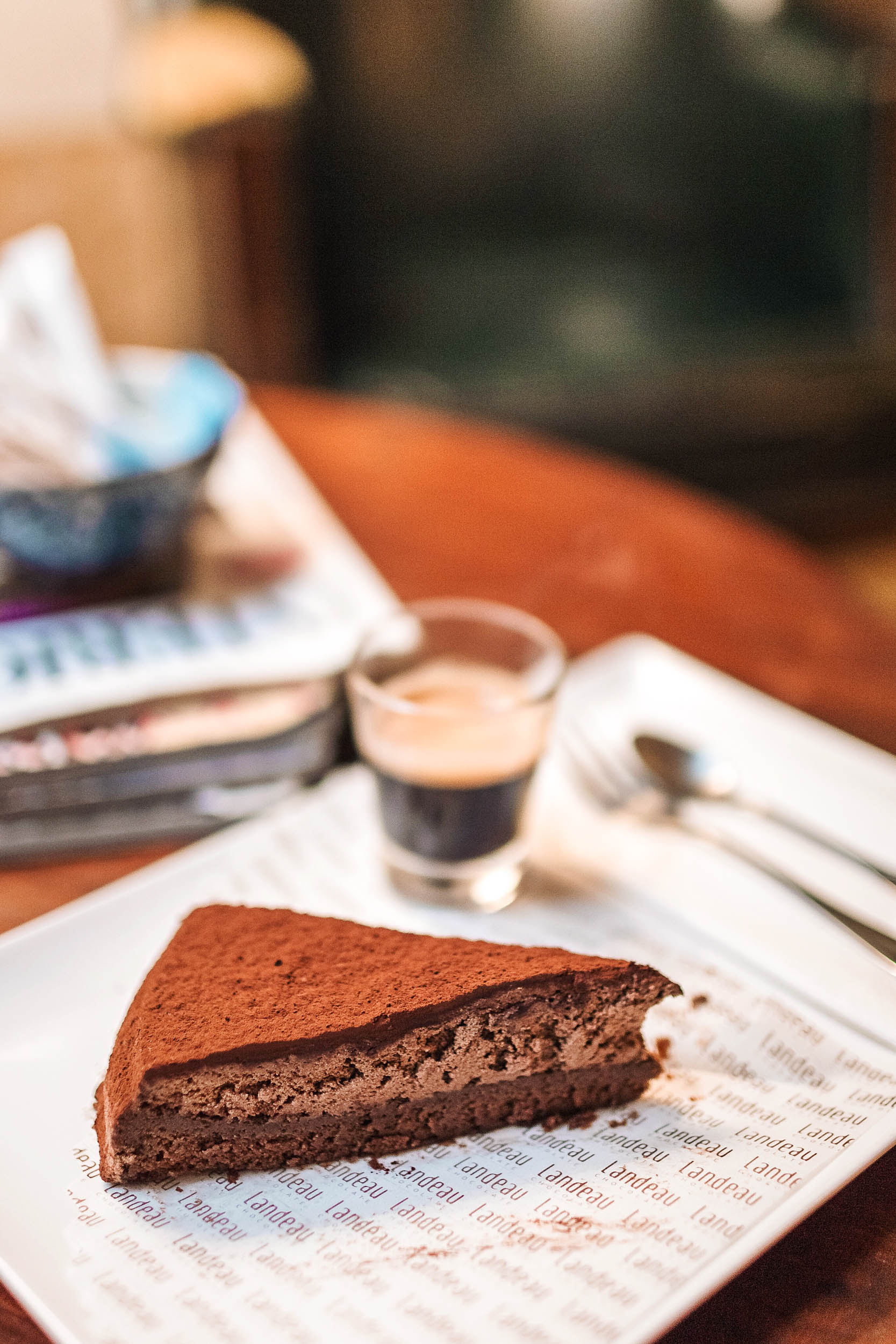 Landeau Chocolate in Lisbon, Portugal offers two things and two things only - chocolate cake and coffee. Great for an afternoon treat!