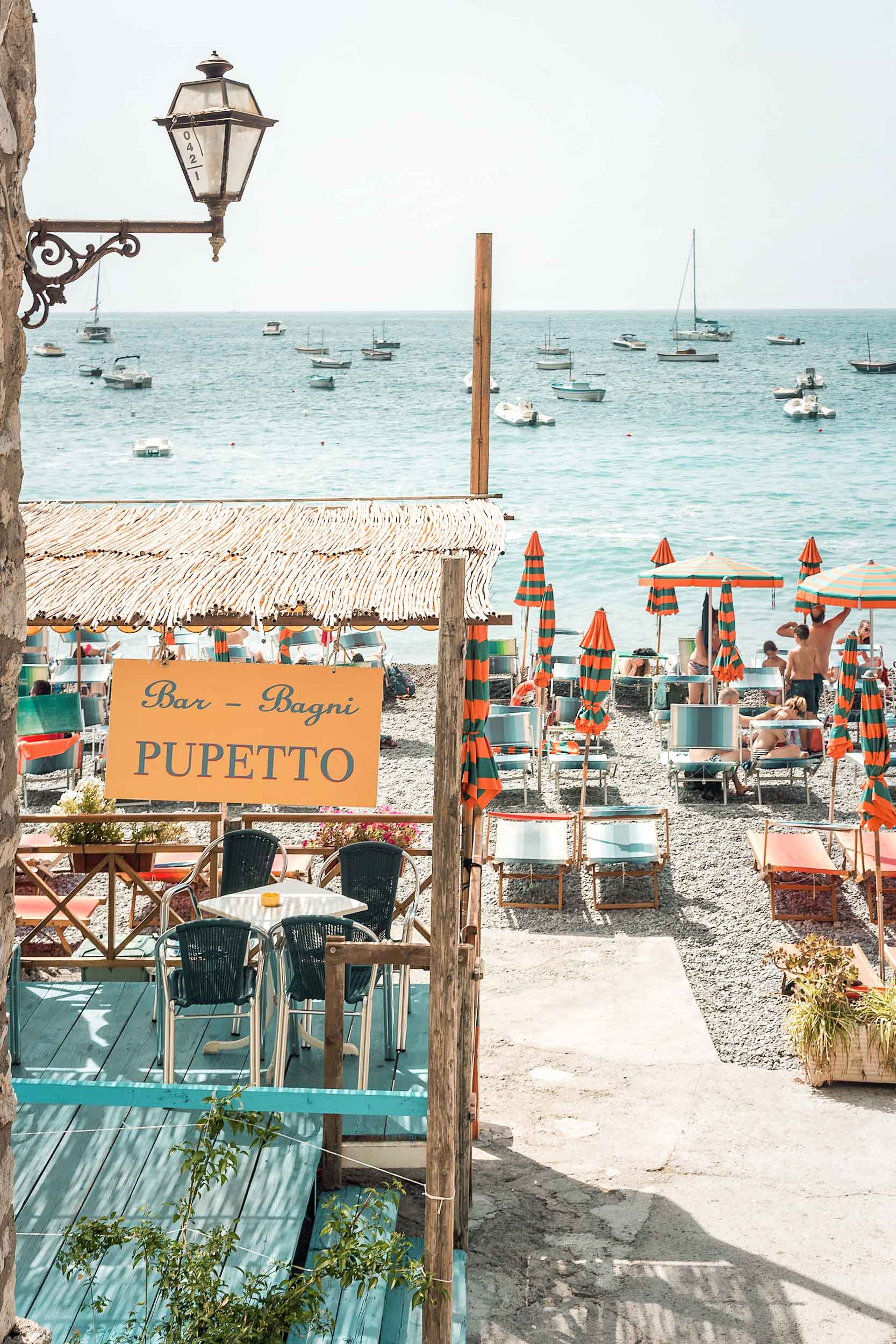 Pupetto Ristorante, a great place to have lunch while at Fornillo Beach