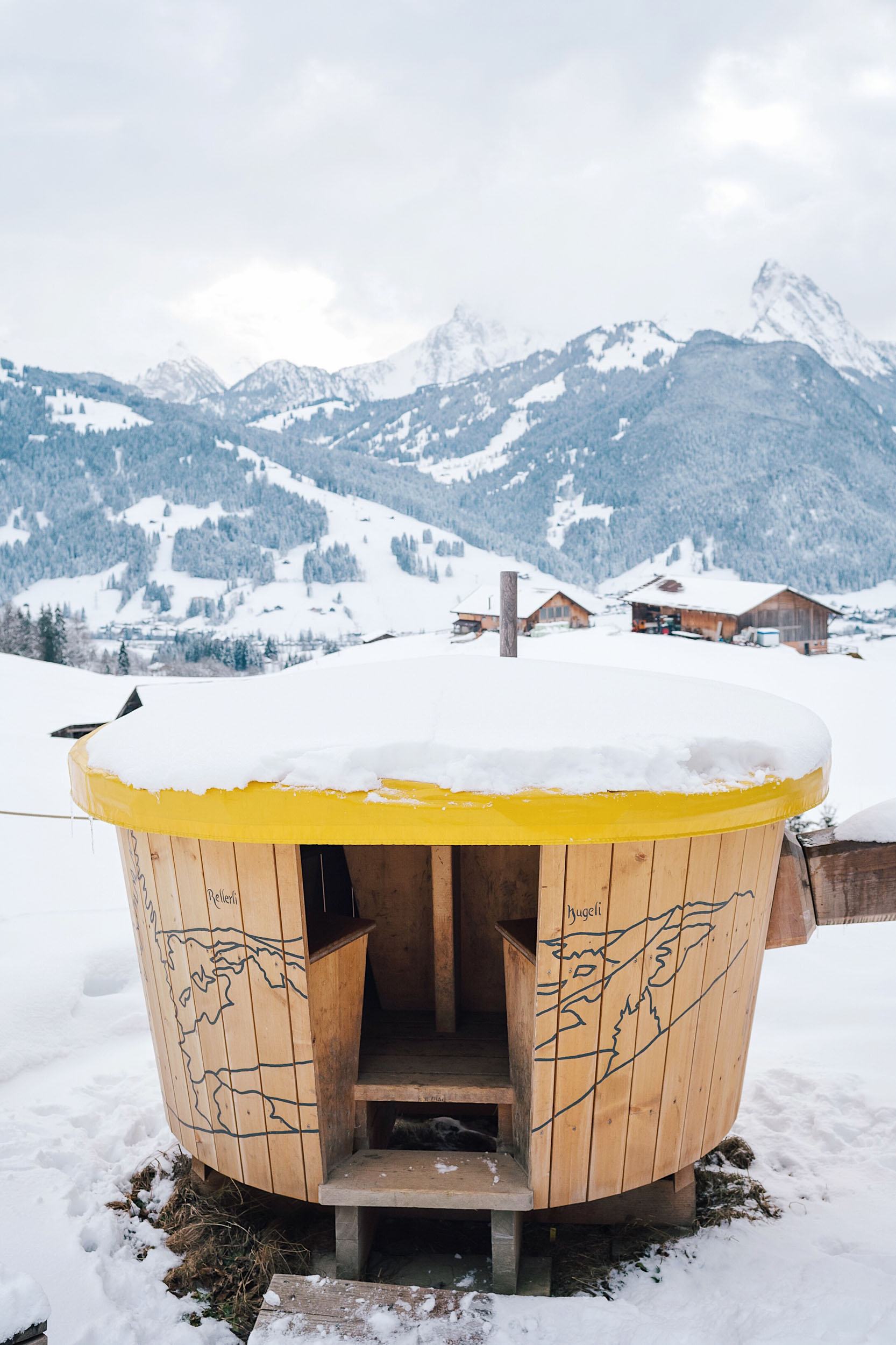 On your fondue hike in Gstaad you will dine inside a large, wooden seating area shaped like, you guessed it, a fondue pot!