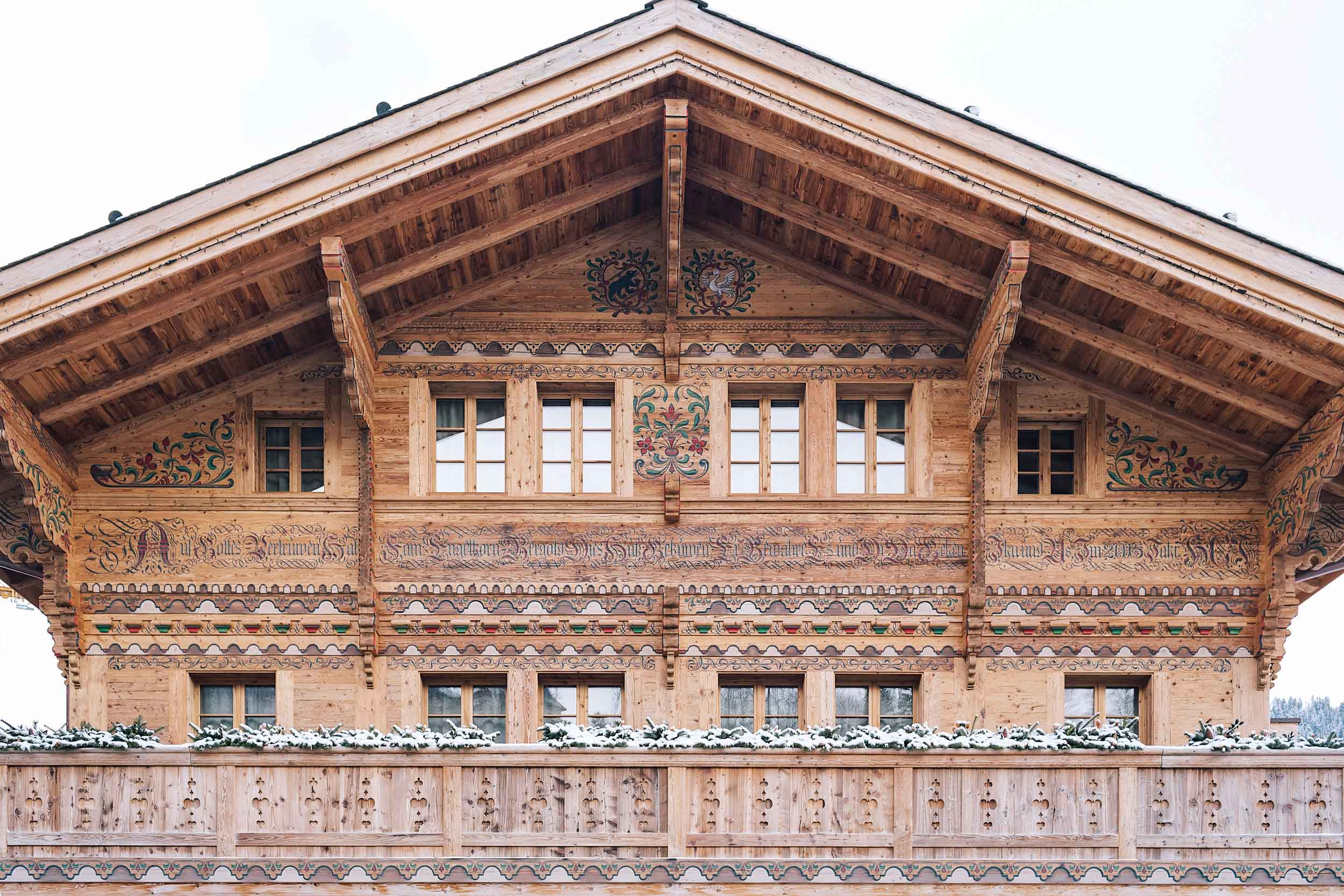 All the buildings and homes in Gstaad are built in this beautiful chalet style