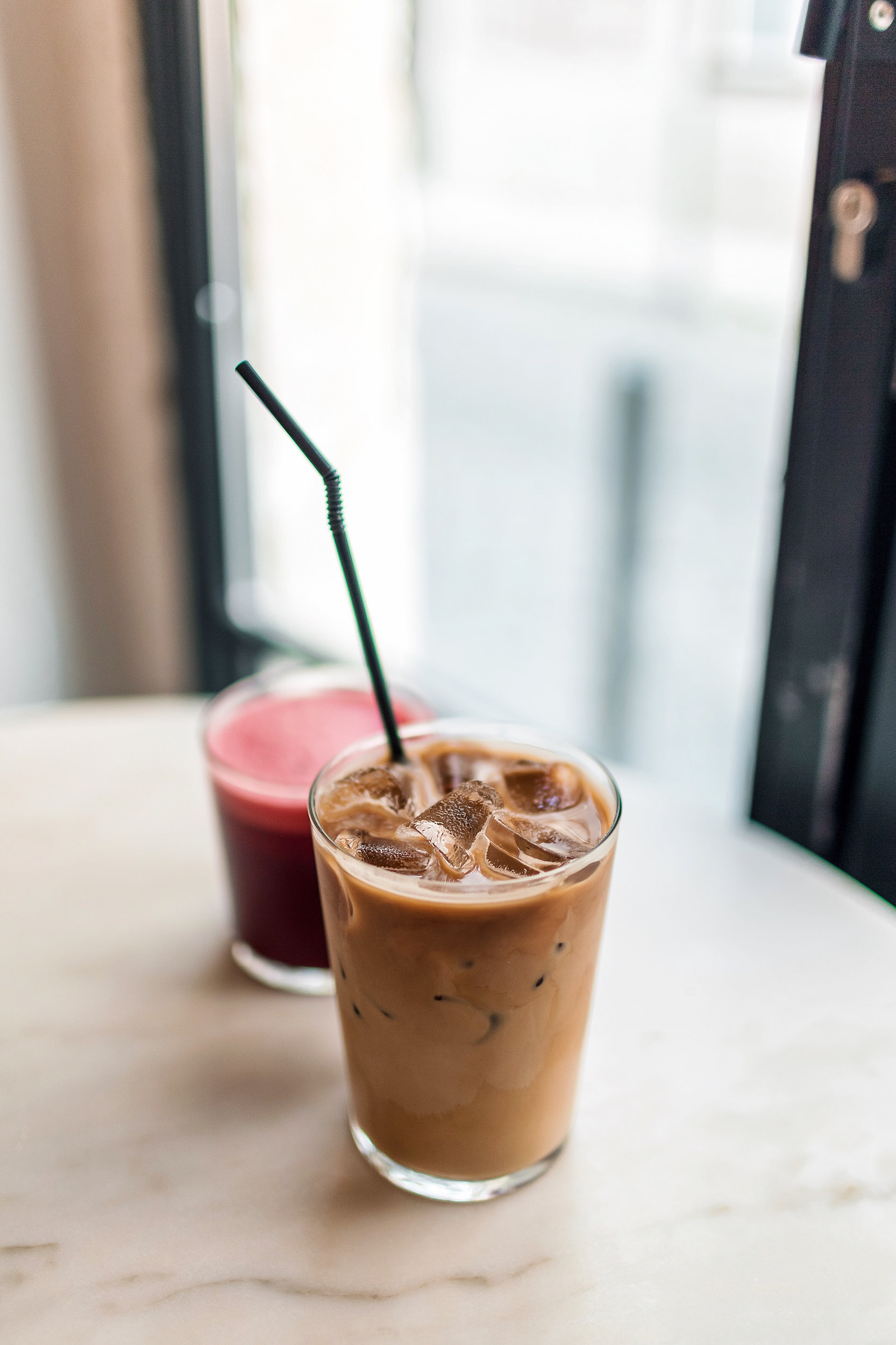 Divine iced coffee and fresh juice at Dear Breakfast in Lisbon