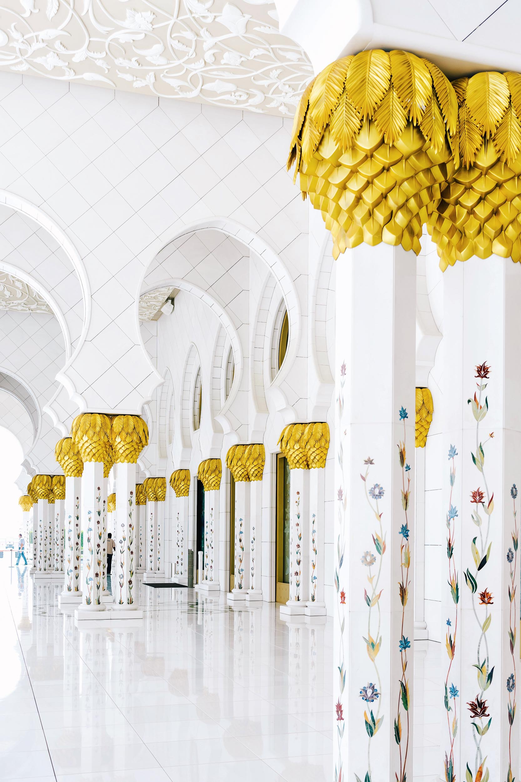 Inside the Sheikh Zayed Grand Mosque in Abu Dhabi