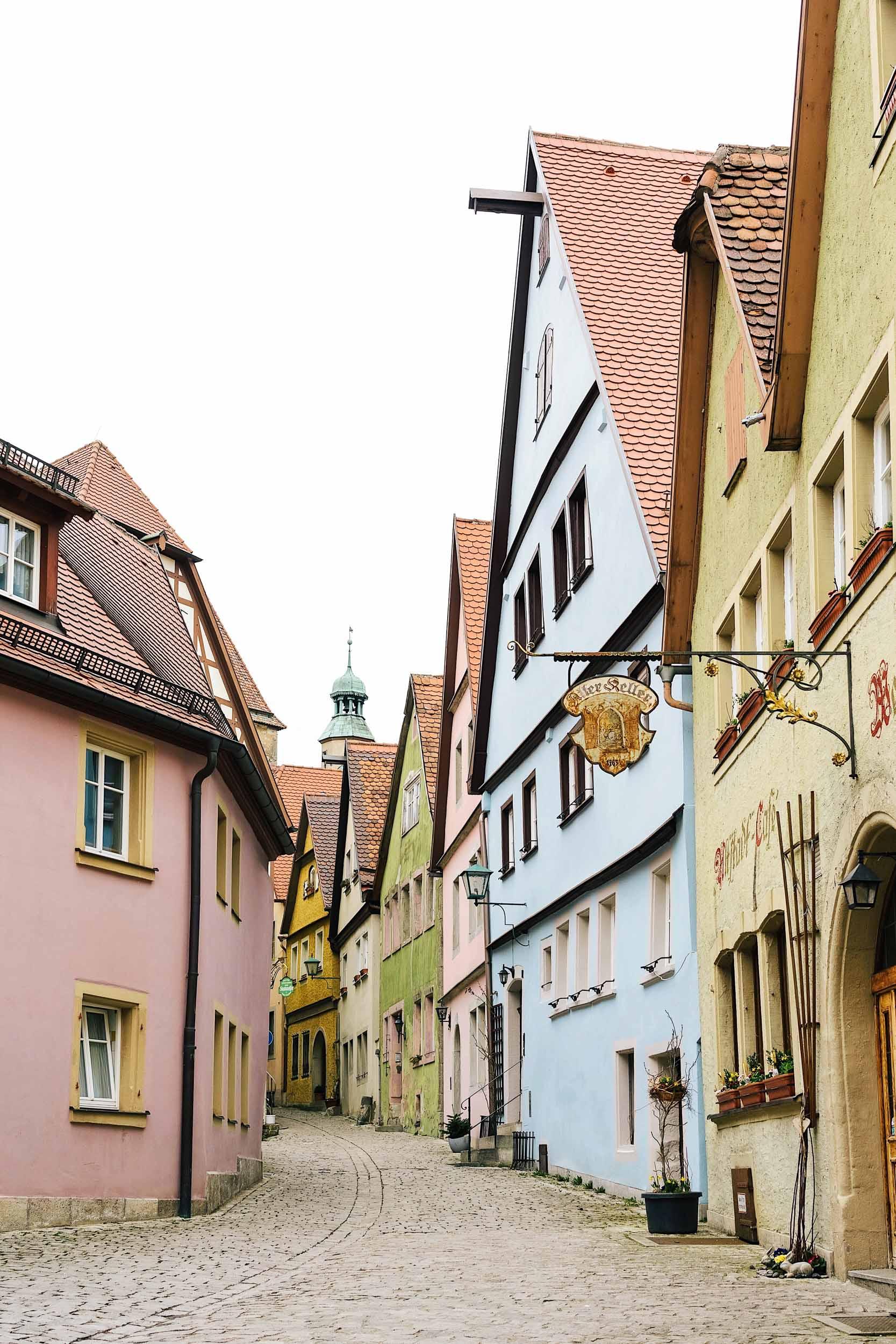 Cobblestone streets near Marktplatz in Rothenburg