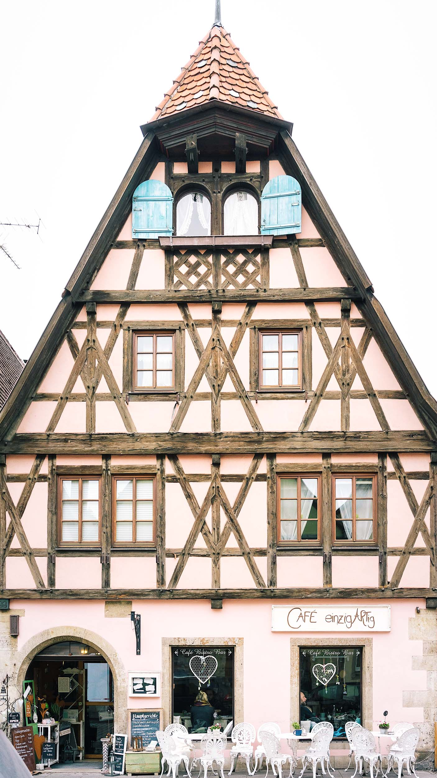 Typical German style buildings in Rothenburg