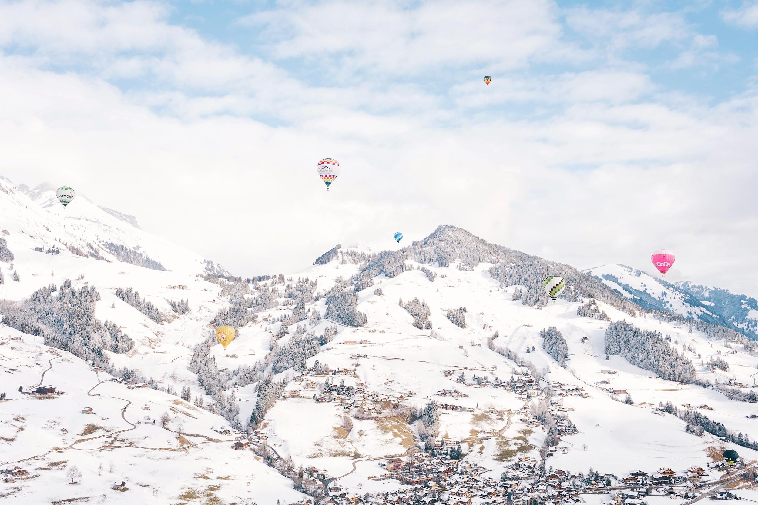 A winter hot air balloon ride in Switzerland