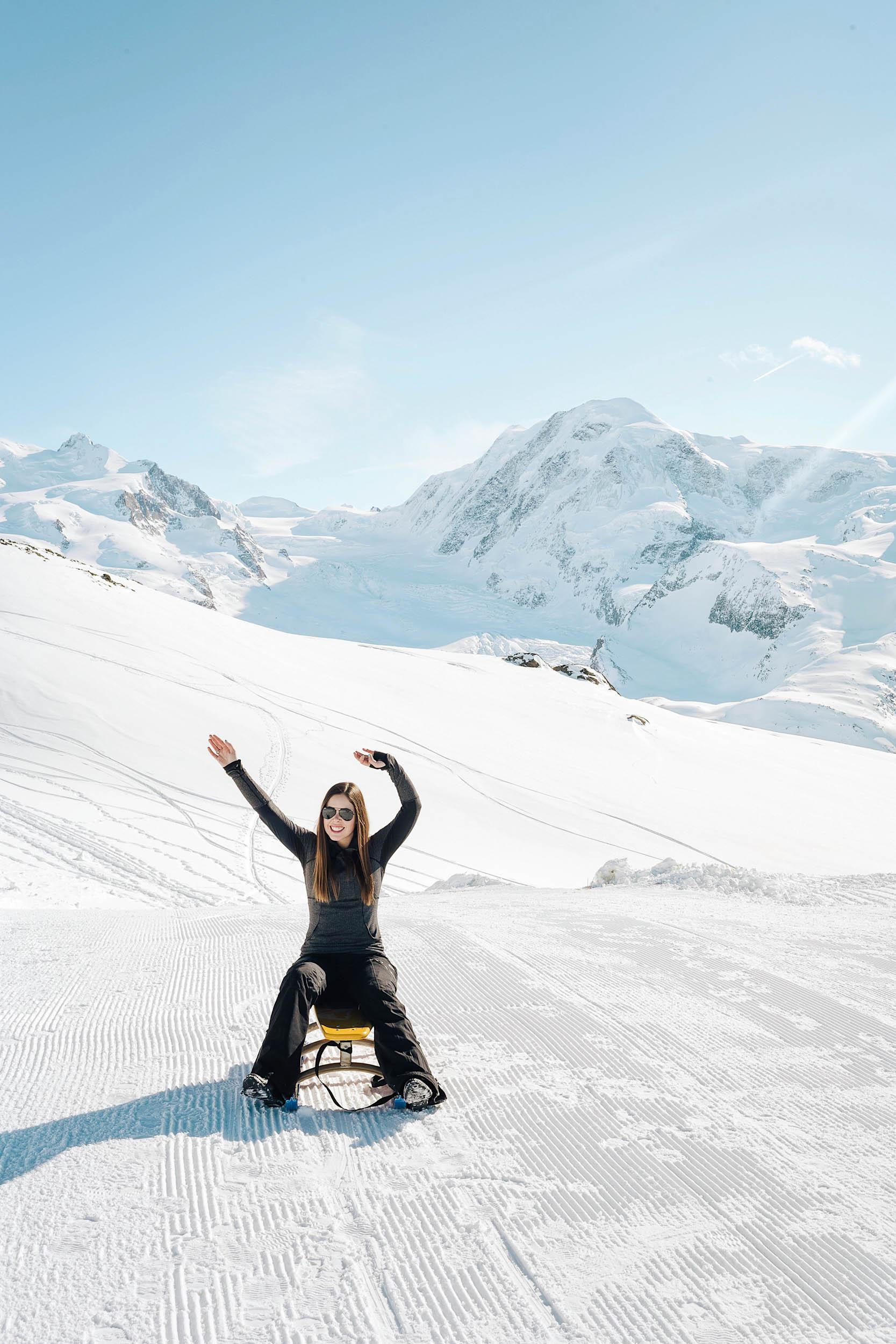 A beautiful winter day tobogganning in Zermatt