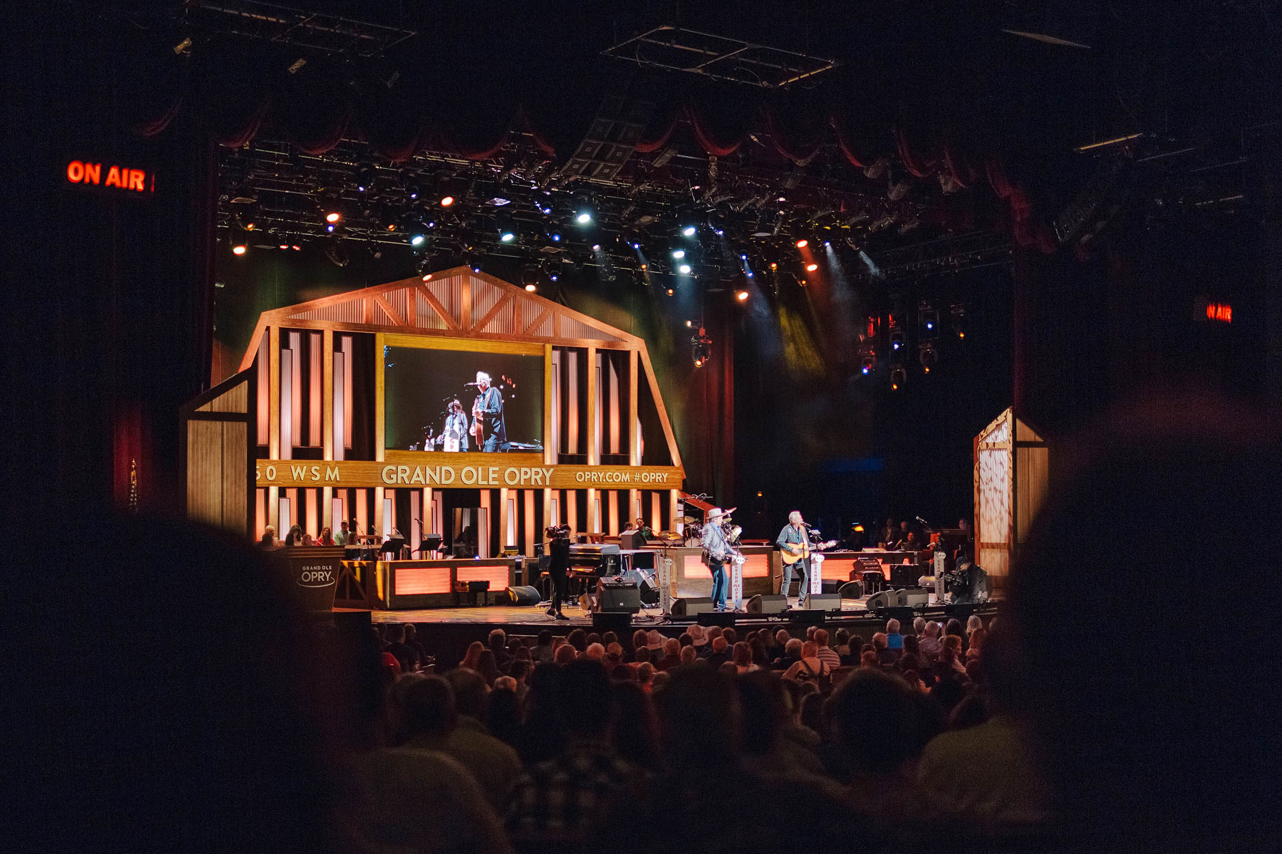 Tommy Emmanuel and Jerry Douglas performing together at the Grand Ole Opry in Nashville