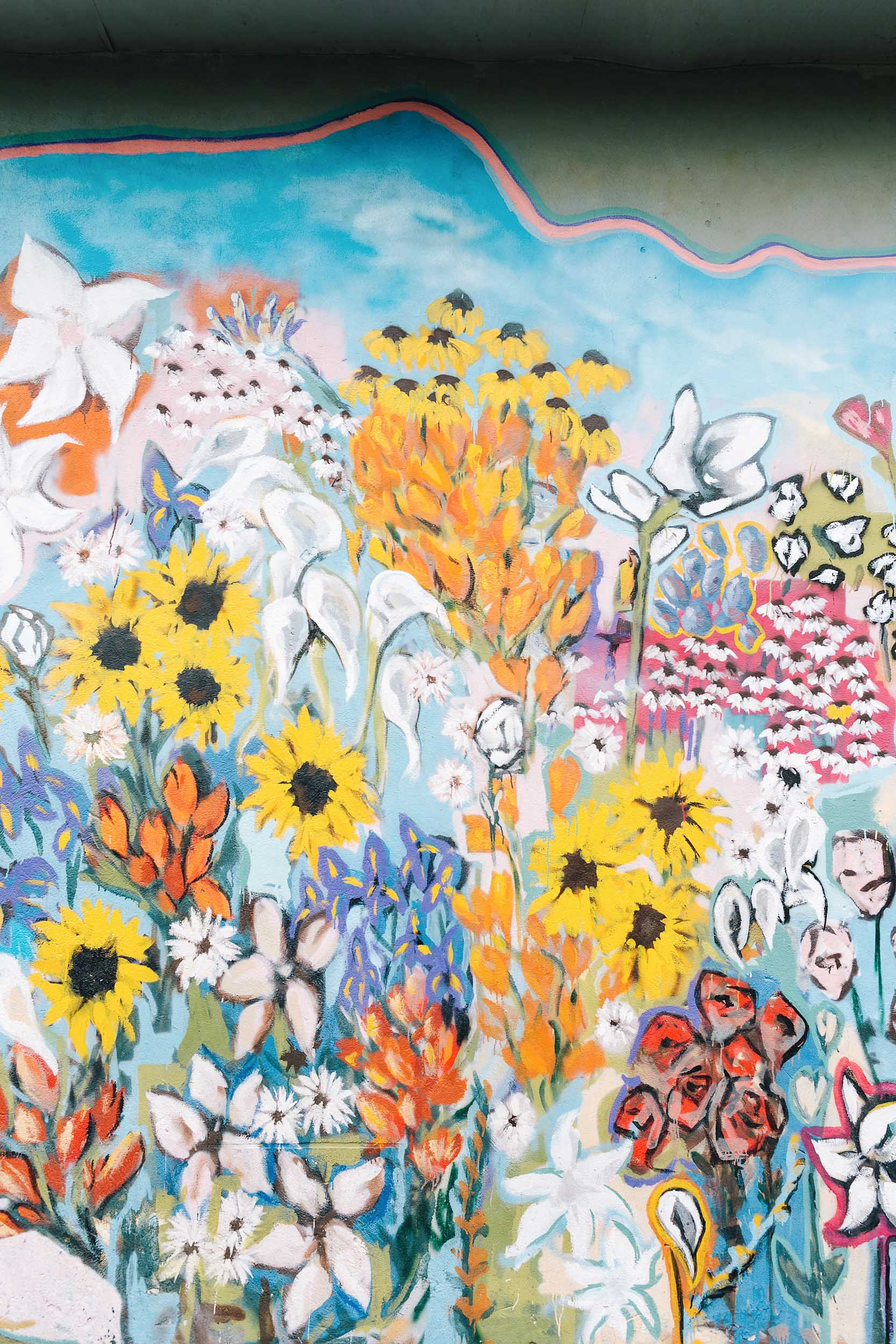 A colorful floral mural in Nashville in 12th South