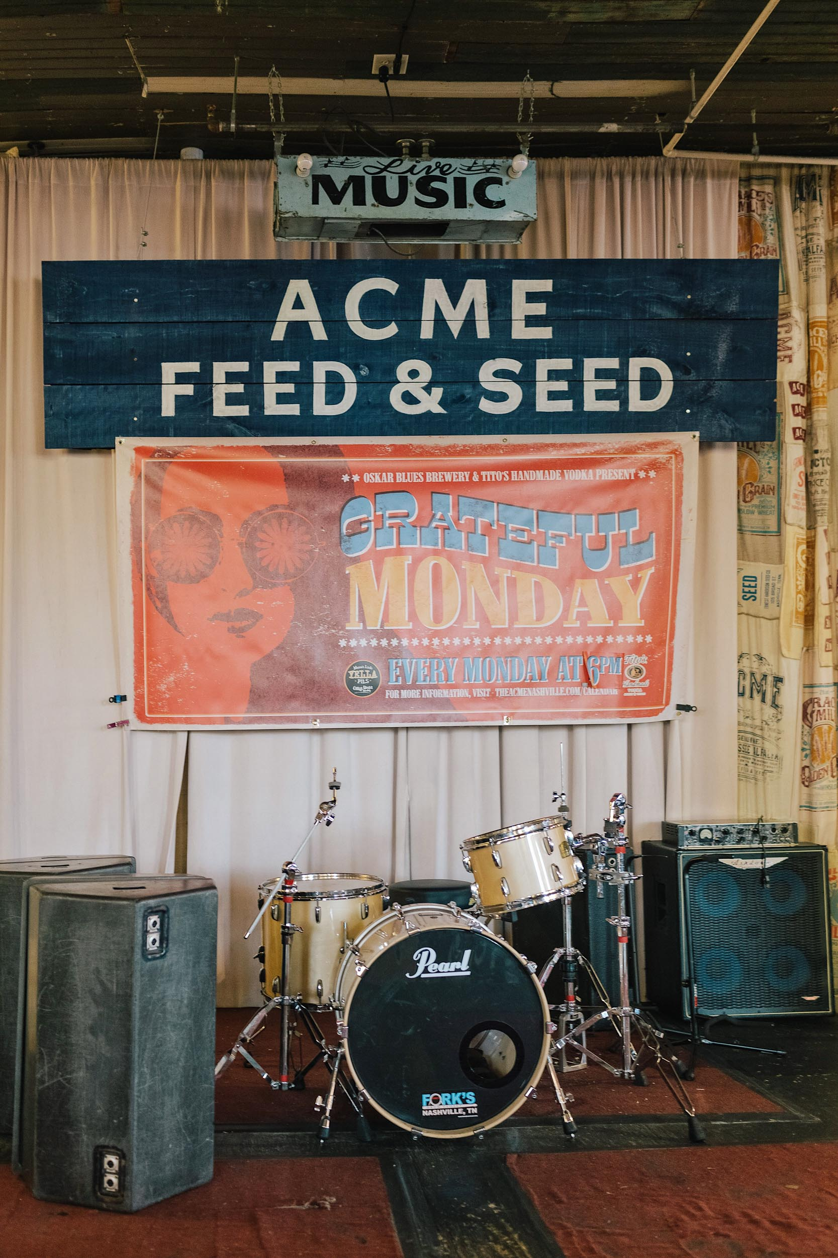 Acme Feed & Seed is a feed store turned restaurant-cocktail-entertainment space on Lower Broadway. Sometimes there is live music, too!
