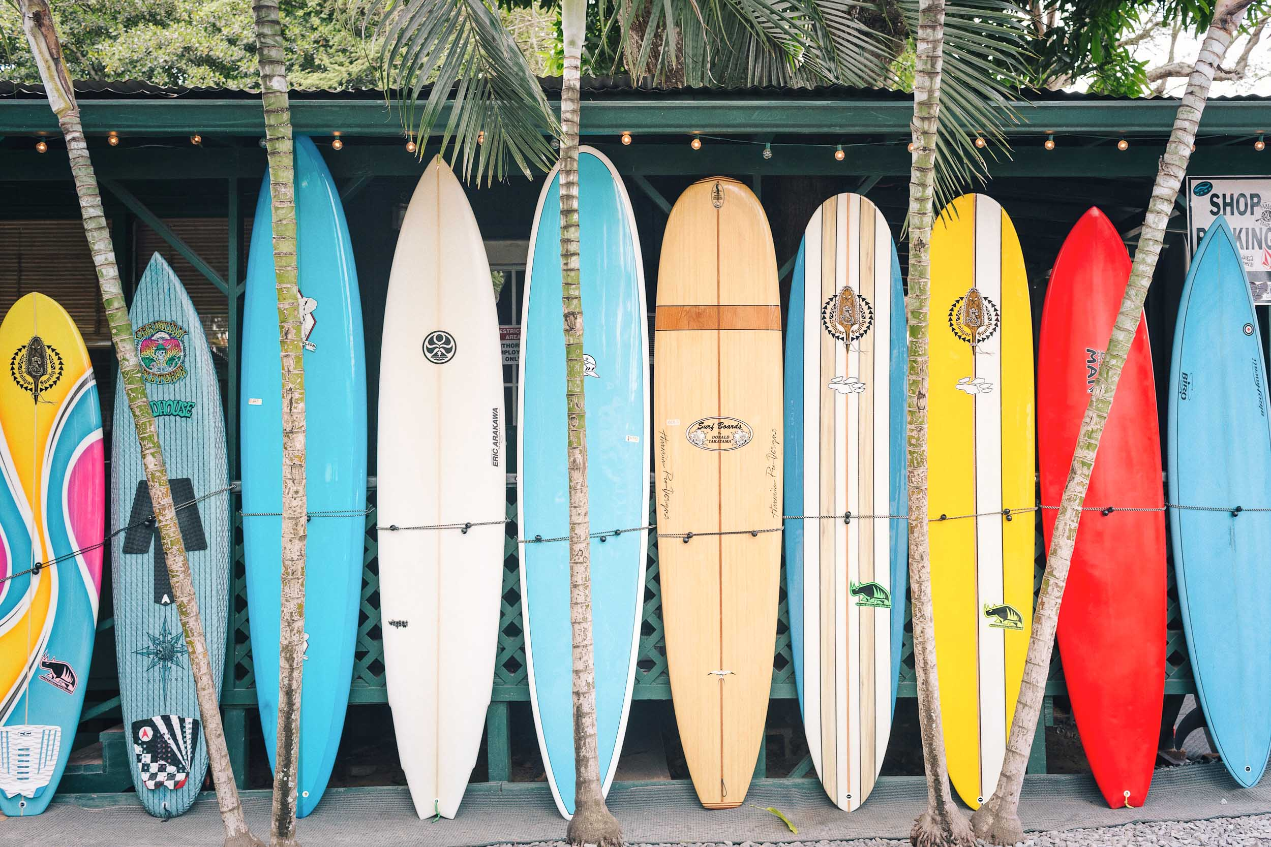 Surfboards and standup paddleboards on Oahu's North Shore