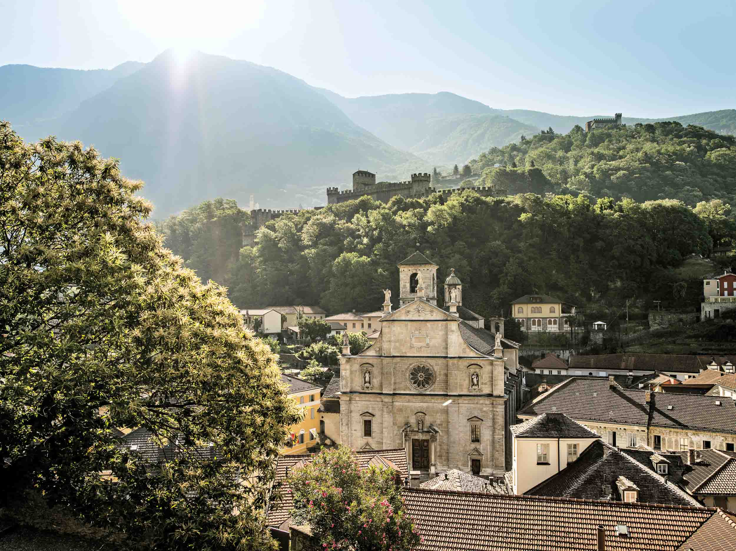 View of Collegiate Church of SS. Pietro and Stefano with castle Montebello and Sasso Corbaro in the background, Bellinzona.
