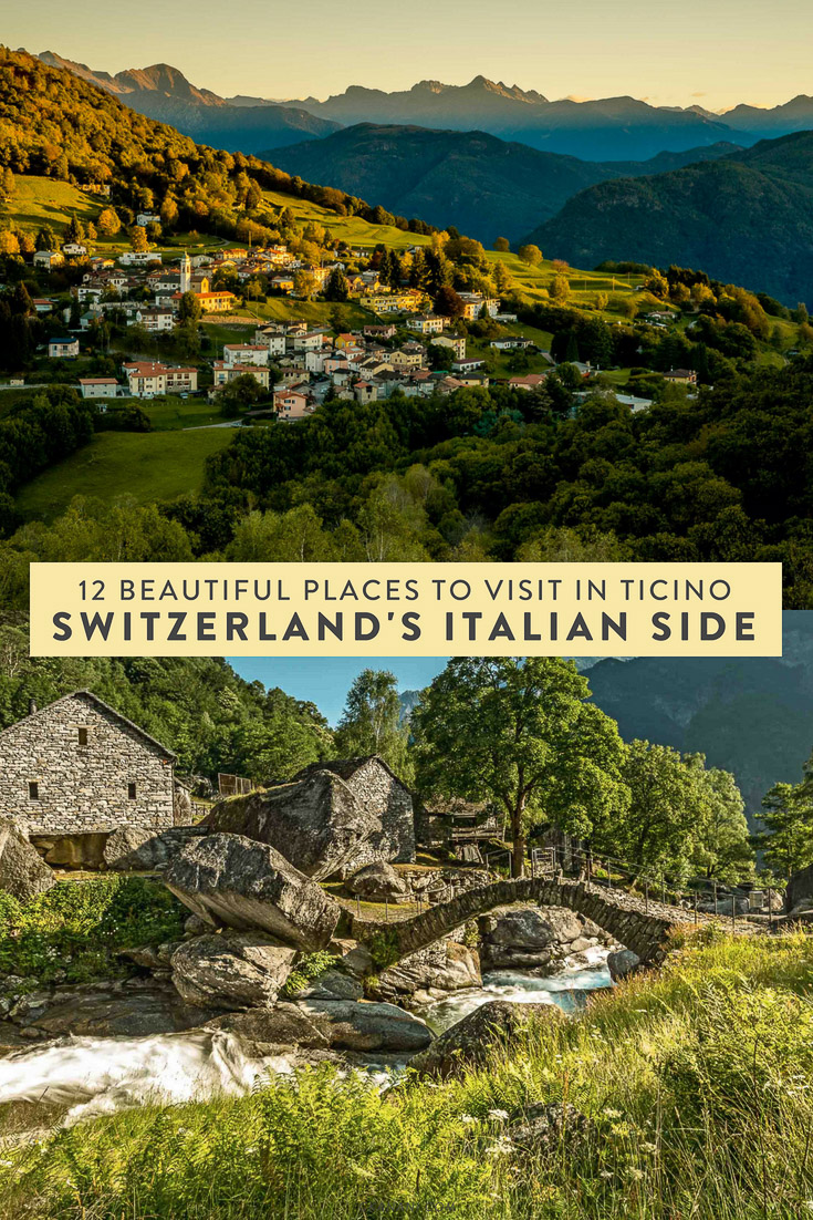 12 beautiful places to visit in Ticino, Switzerland's Italian side. A Mediterranean area with beautiful beaches, charming alleyways, piazzas, and a mixture of city and country! #switzerland #italy