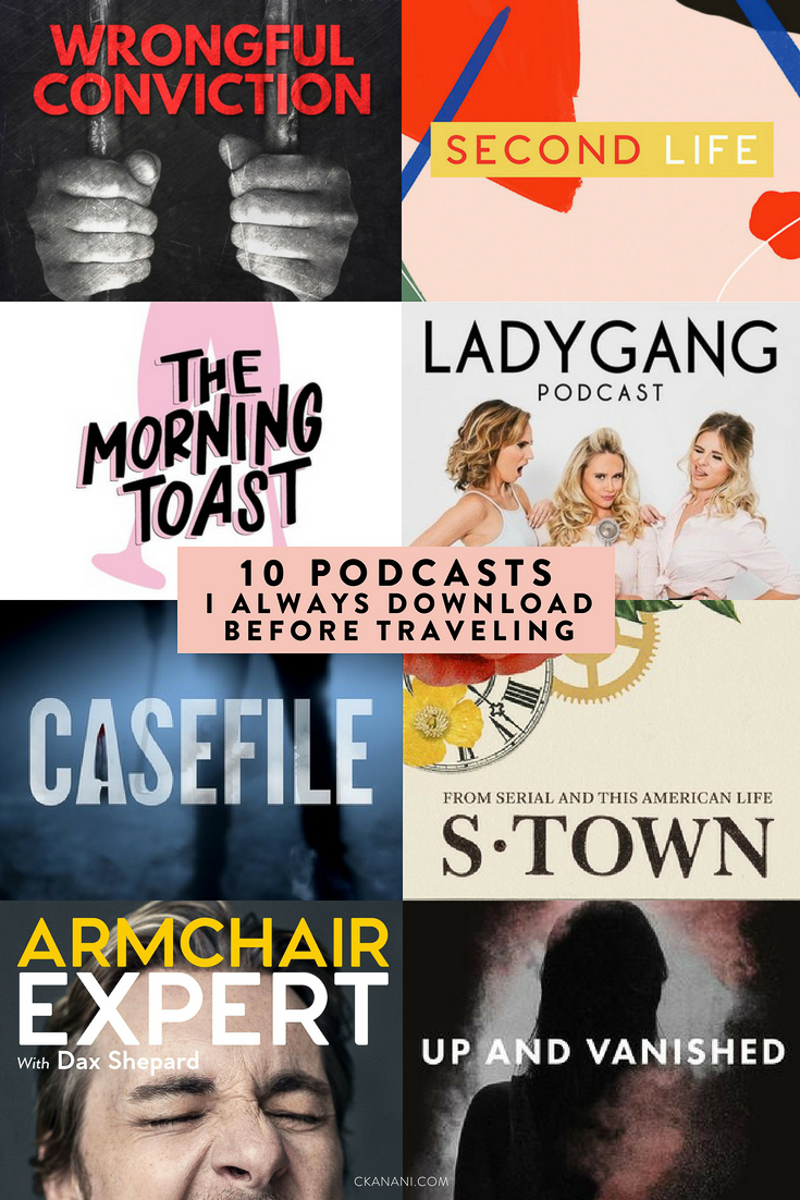 The 10 Podcasts I always download before traveling. True crime, pop culture, inspirational stories, and more! The best podcasts for women #podcasts #podcastsforwomen #podcastsbest