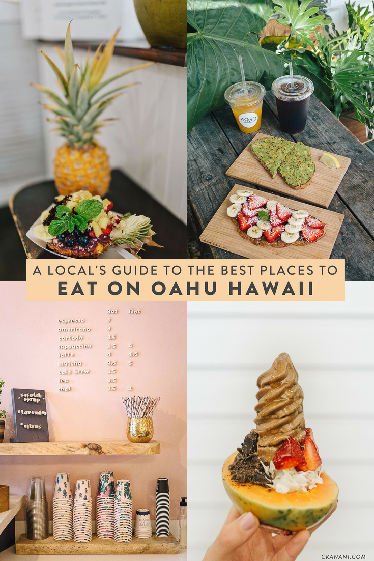 A local's guide to the best places to eat on Oahu, Hawaii. The best spots for breakfast, lunch, dinner, and drinks in Honolulu/Waikiki, the North Shore, Kailua, and Kaneohe! #oahu #hawaii