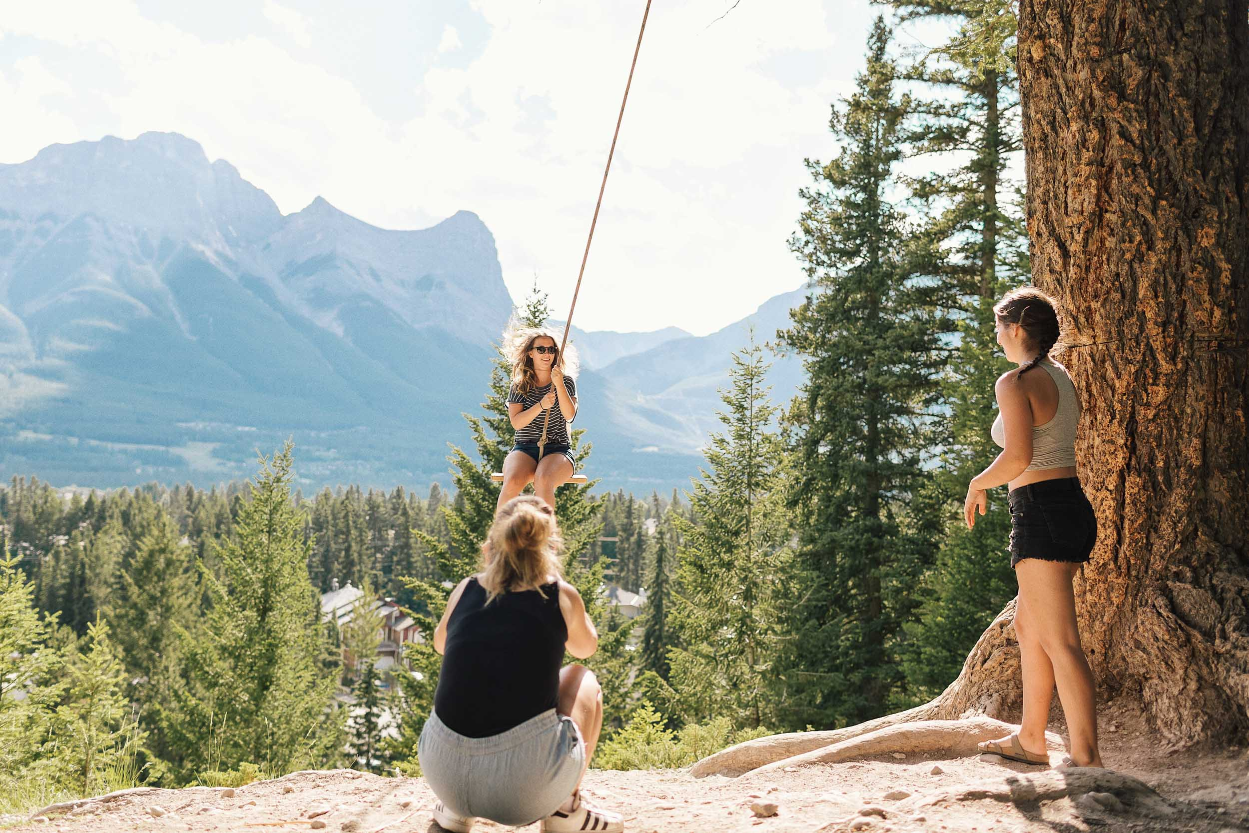 When visiting the rope swing in Canmore, bring two friends if possible!
