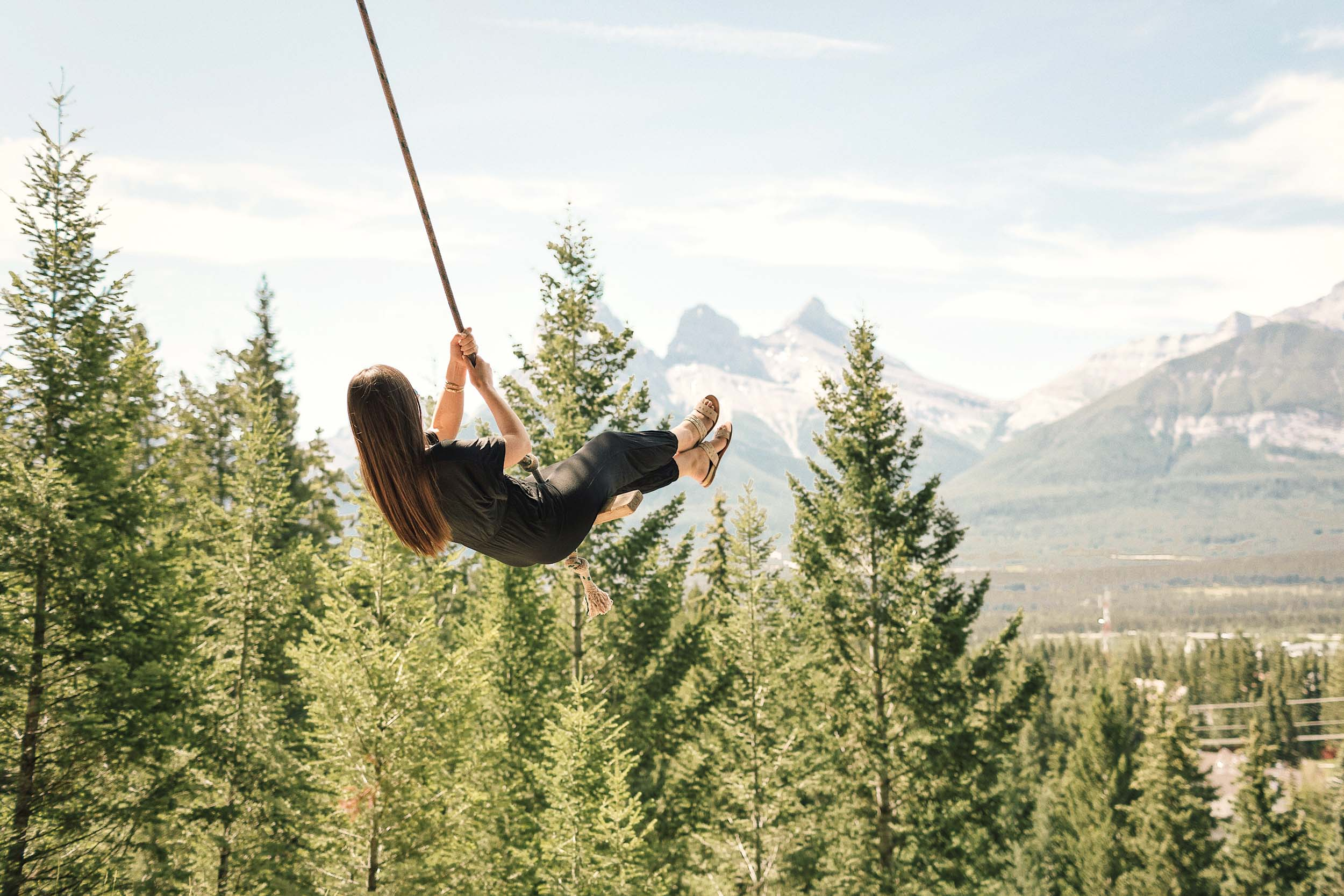 The most Instagrammable place in Banff National Park, Alberta, Canada: the Canmore rope swing